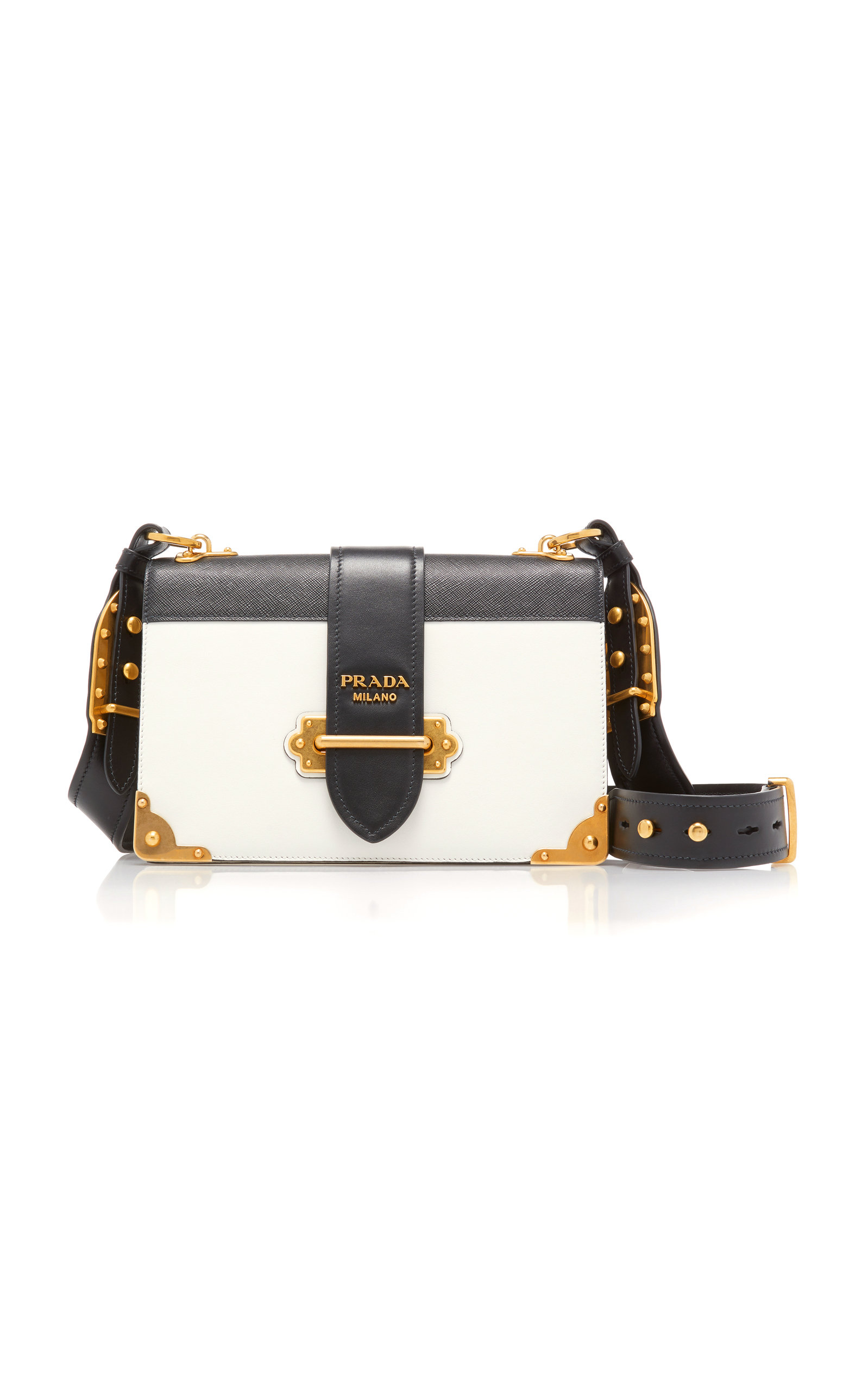 Cahier Large Two-Tone Leather Shoulder Bag by Prada  abb6140c4d4ee