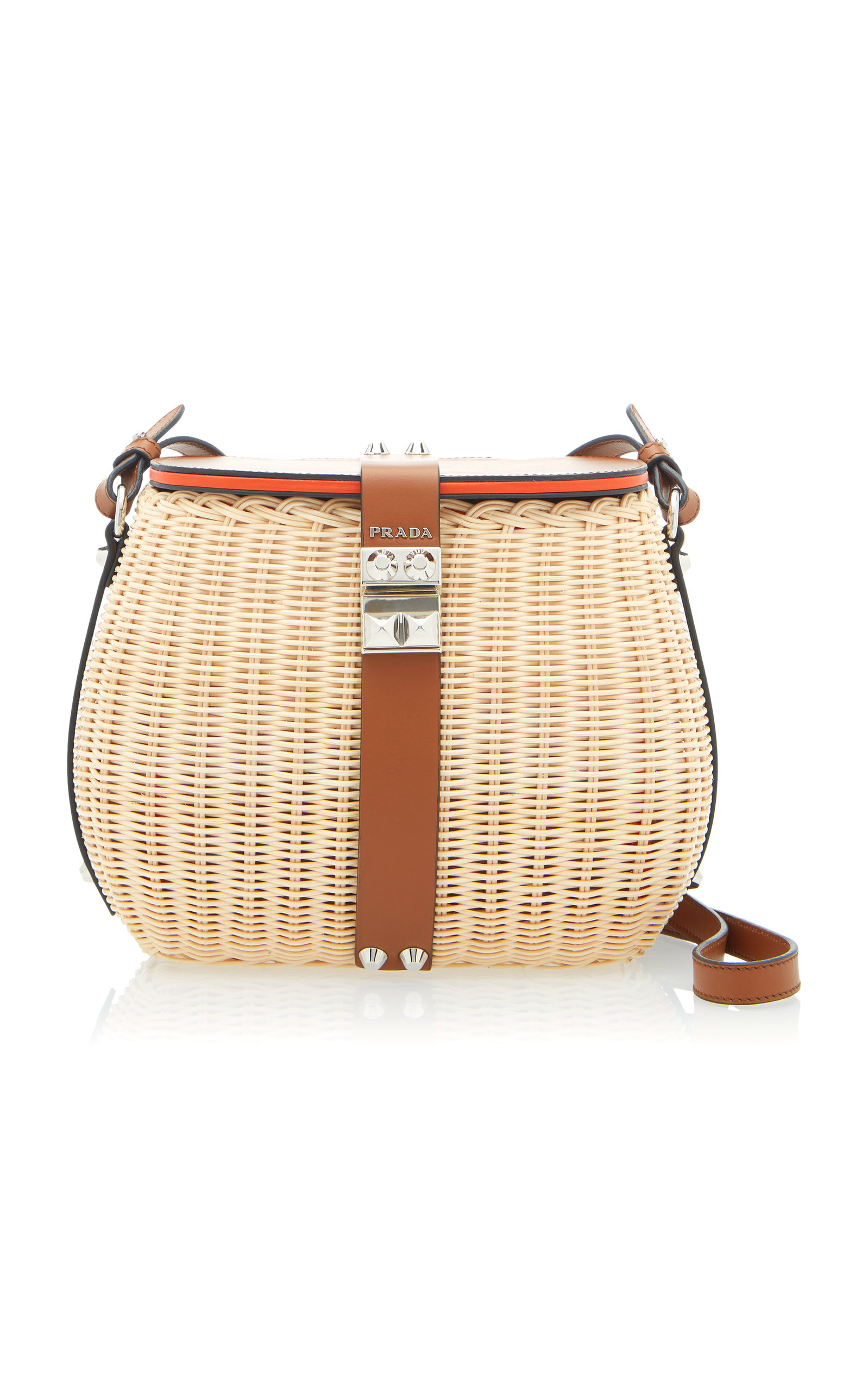 600c5850c1d1 Leather-Trimmed Raffia Shoulder Bag by Prada | Moda Operandi