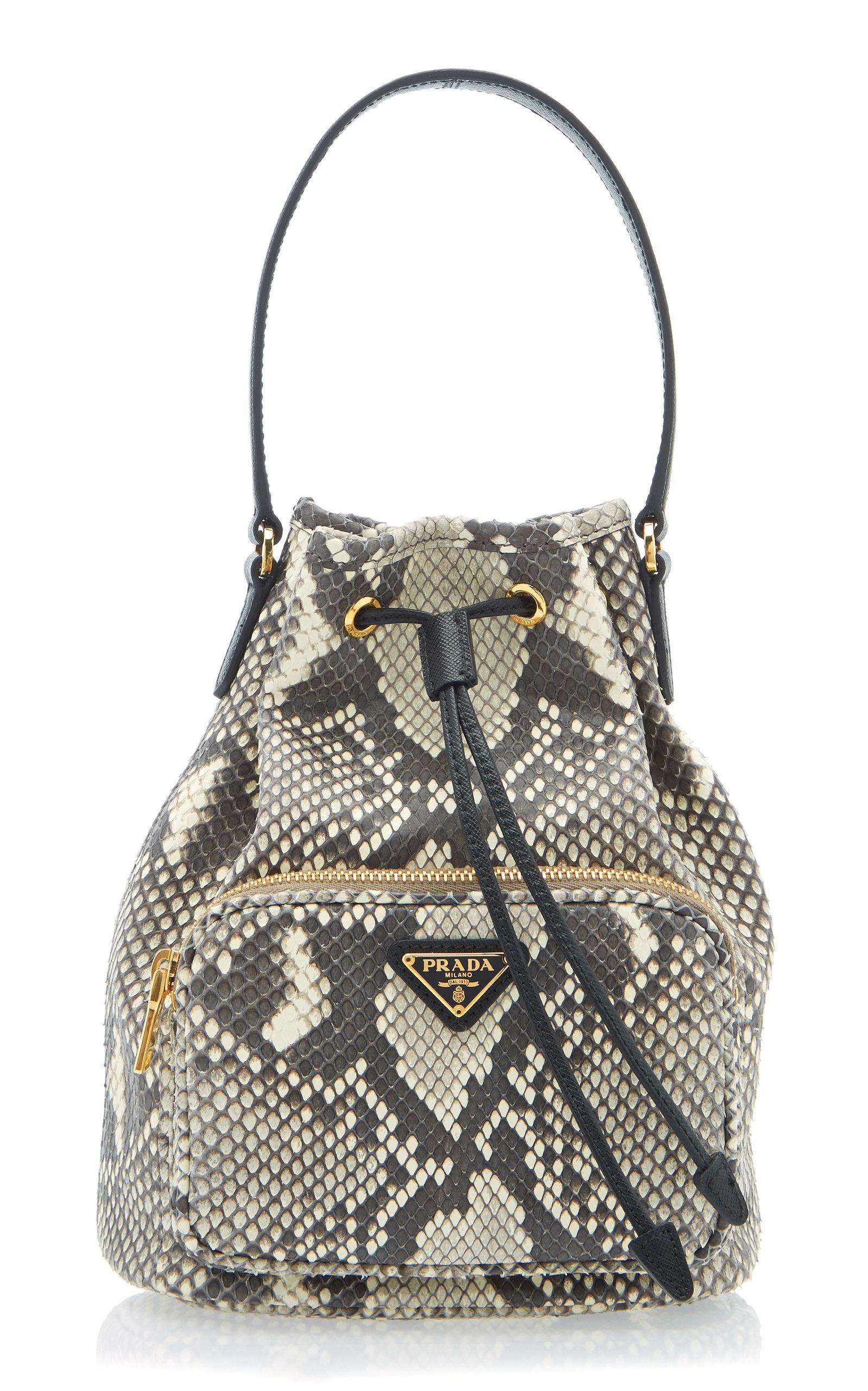 80b3fa5899 Python Print Leather Bucket Bag
