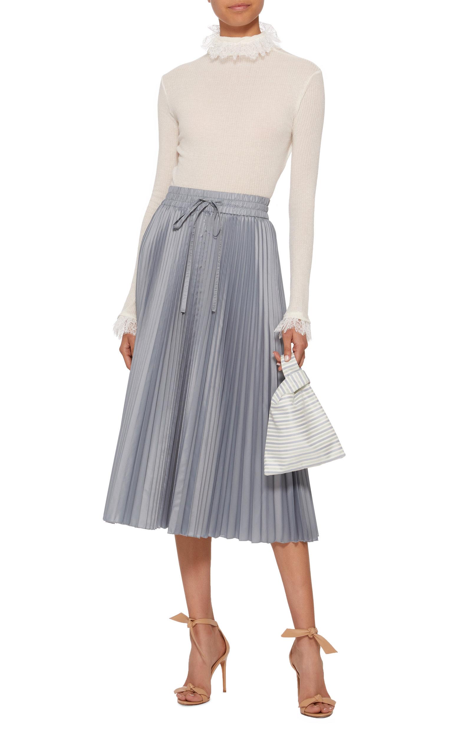 aa00f320b0 Pleated Satin Midi Skirt by Red Valentino   Moda Operandi
