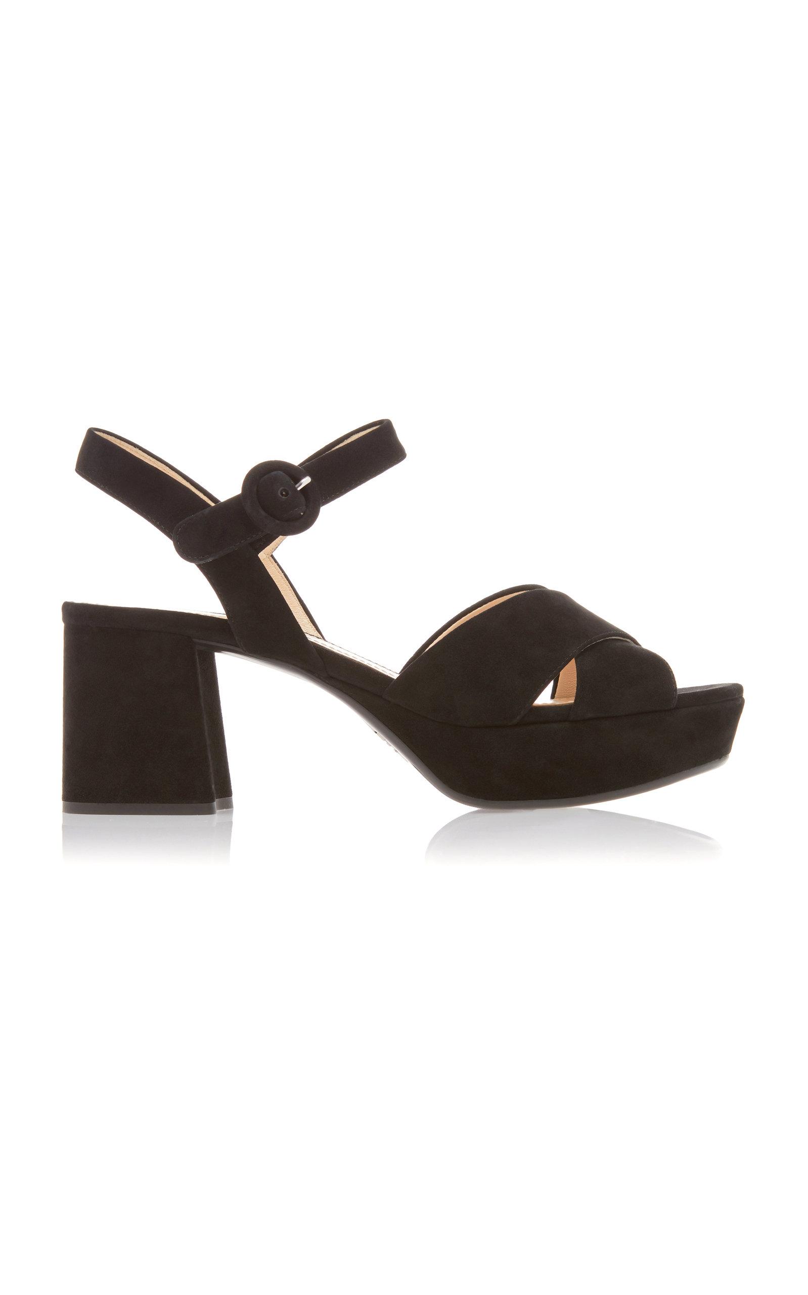 76704a553bf2 Prada Suede Platform Sandals In Black