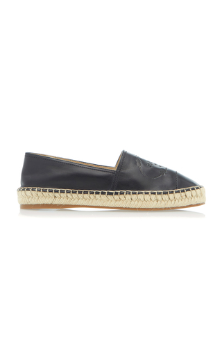 PRADA | Prada Logo-Embossed Leather Espadrilles | Goxip