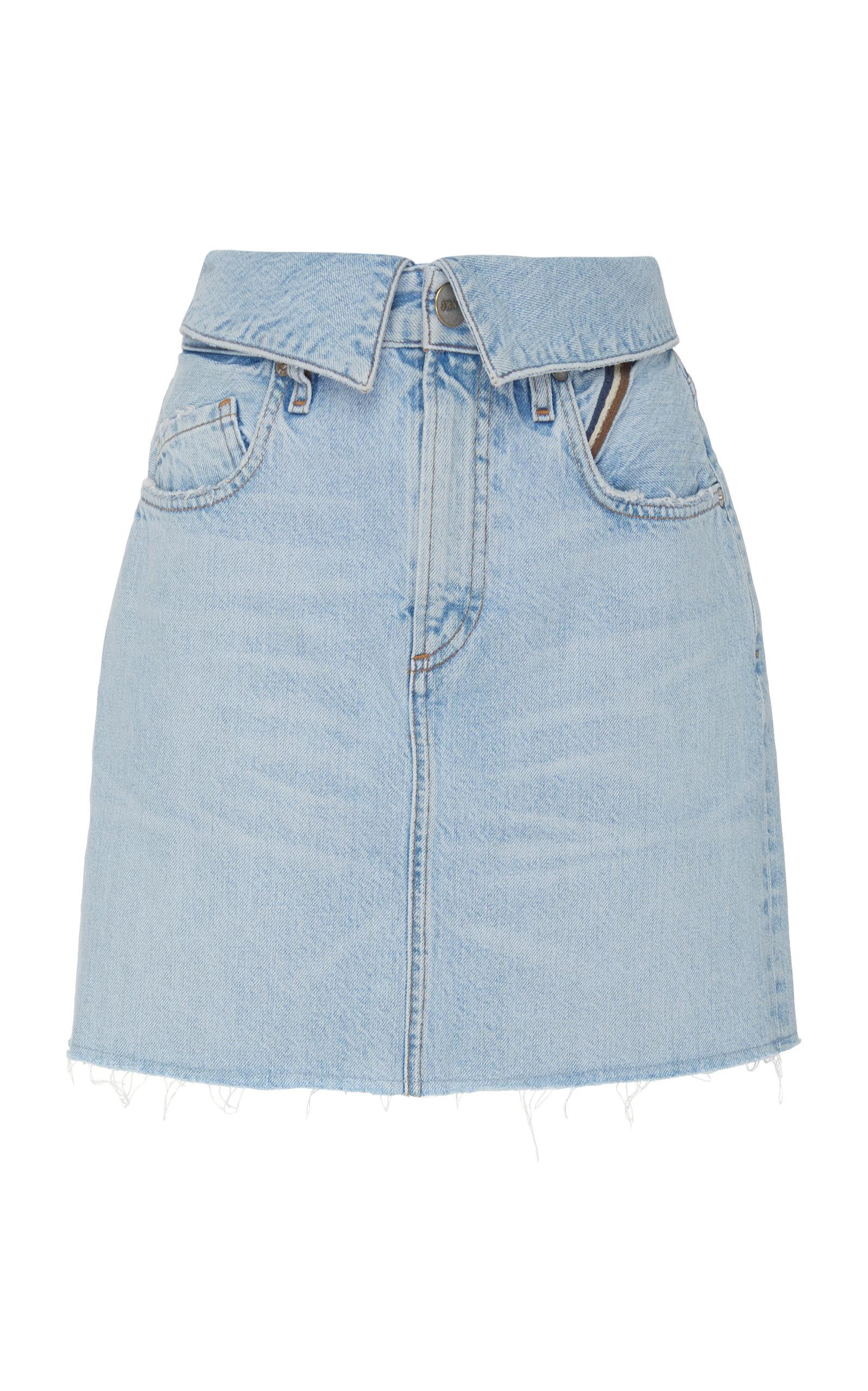 JEAN ATELIER Flip High-Rise Denim Mini Skirt in Light Wash