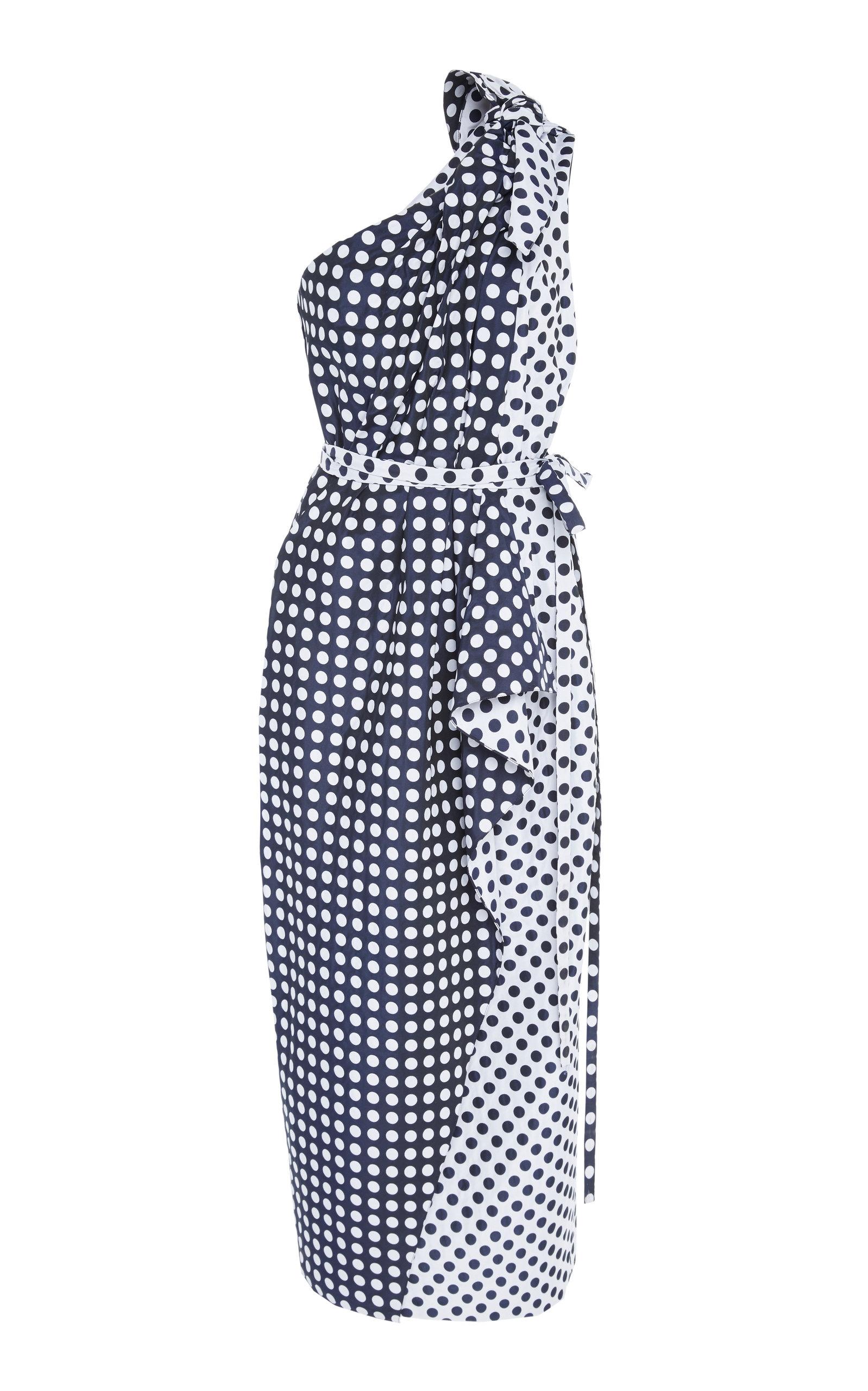 bdb509b6519f7 Carolina HerreraOne-Shoulder Polka-Dot Crepe De Chine Midi Dress. CLOSE.  Loading