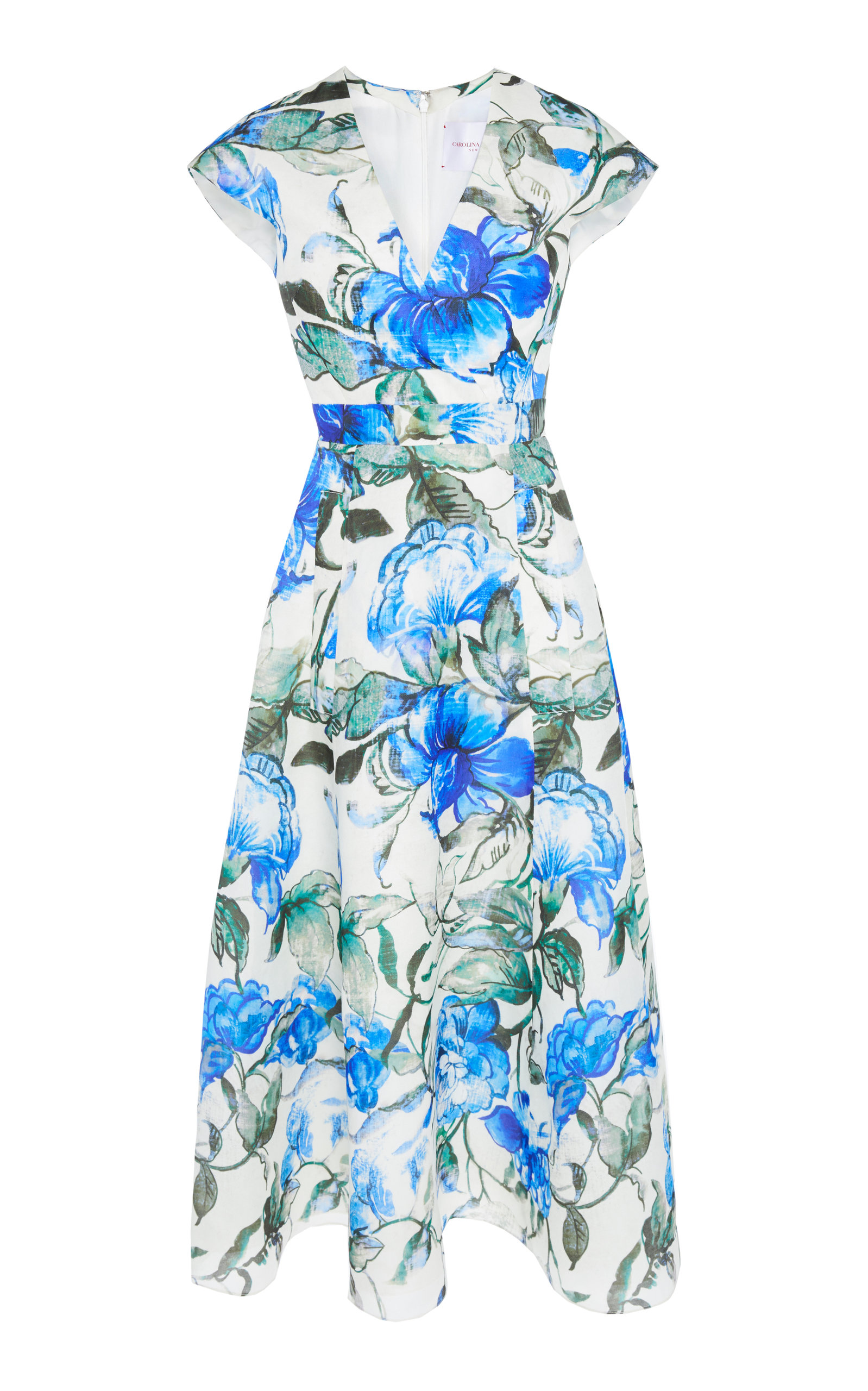 Hibiscus Print A-Line Faux Wrap Dress in Floral