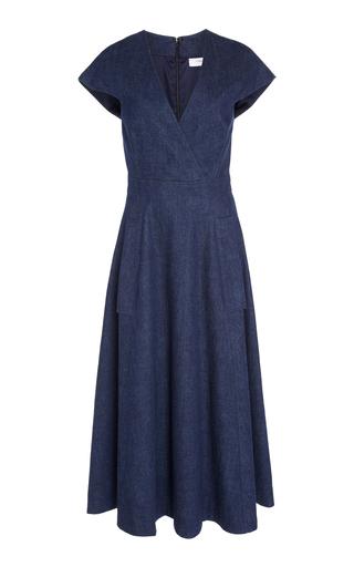 V Neck Faux Wrap Midi Dress By Carolina Herrera Moda