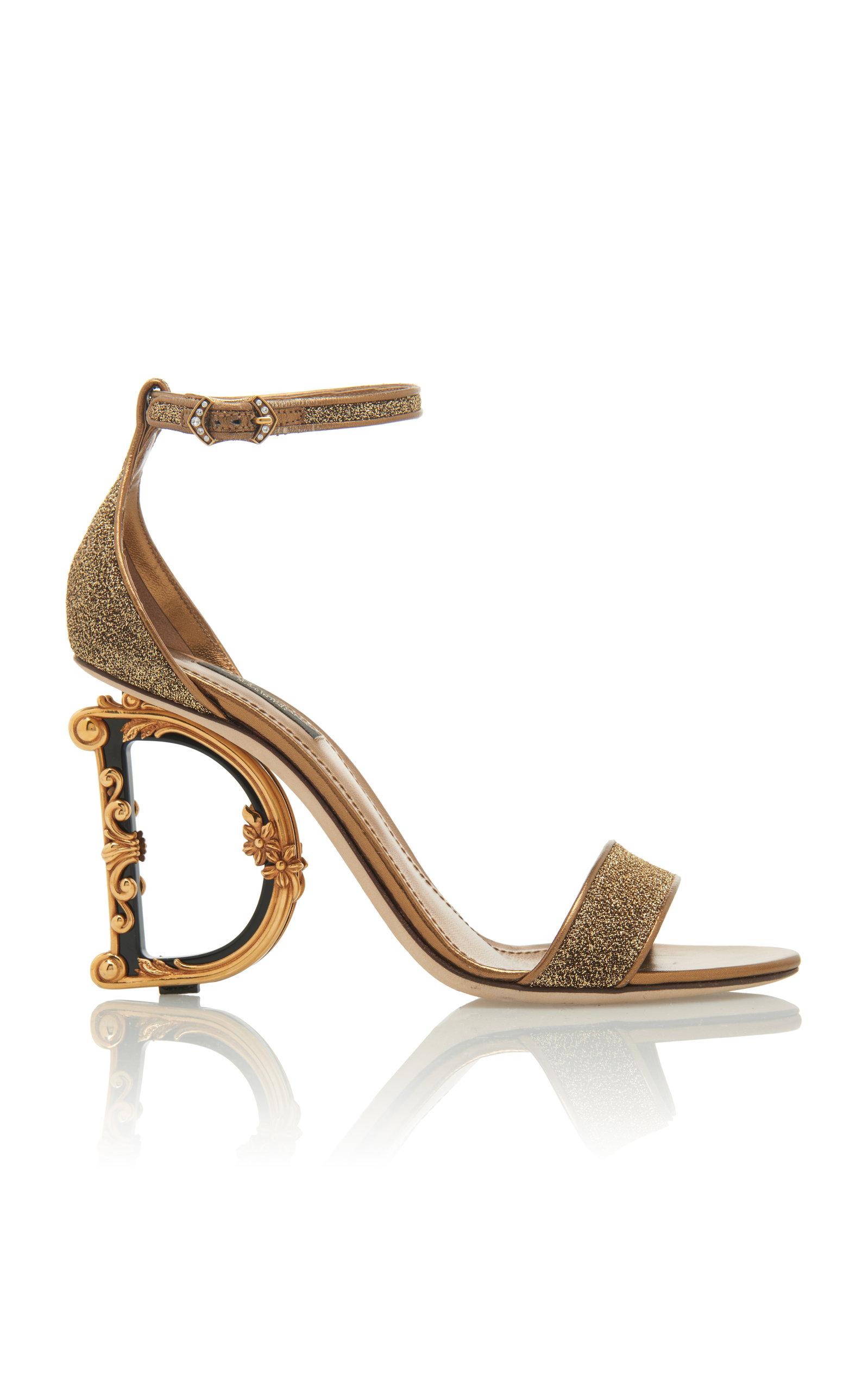 48531d0b7423 Dolce   GabbanaLogo Heel Lurex Sandals. CLOSE. Loading