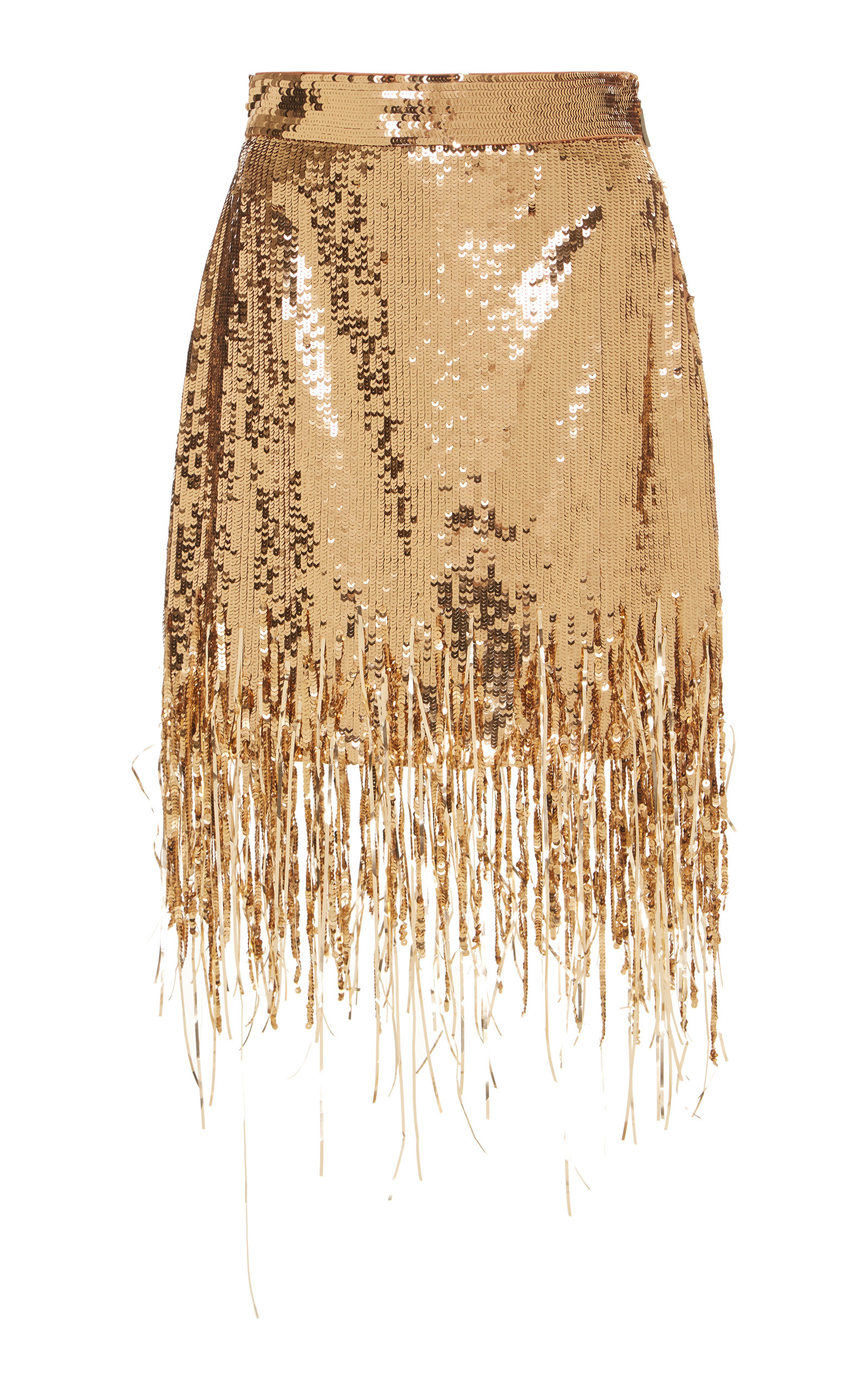 5a4fed945a Gold Sequined Fringed Skirt by MSGM   Moda Operandi