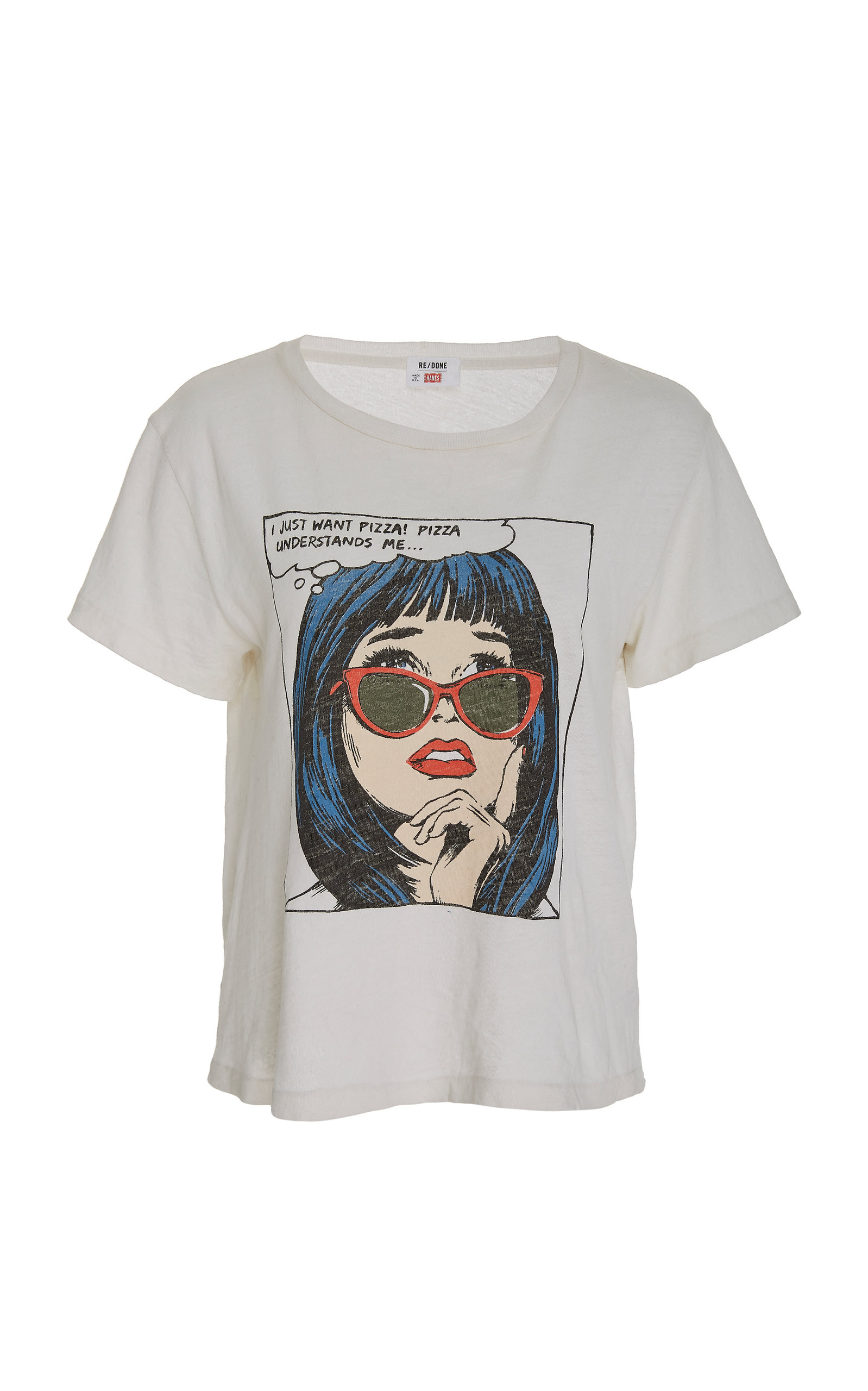Re/Done The Classic Pizza-Graphic Cotton T-Shirt - White Size L