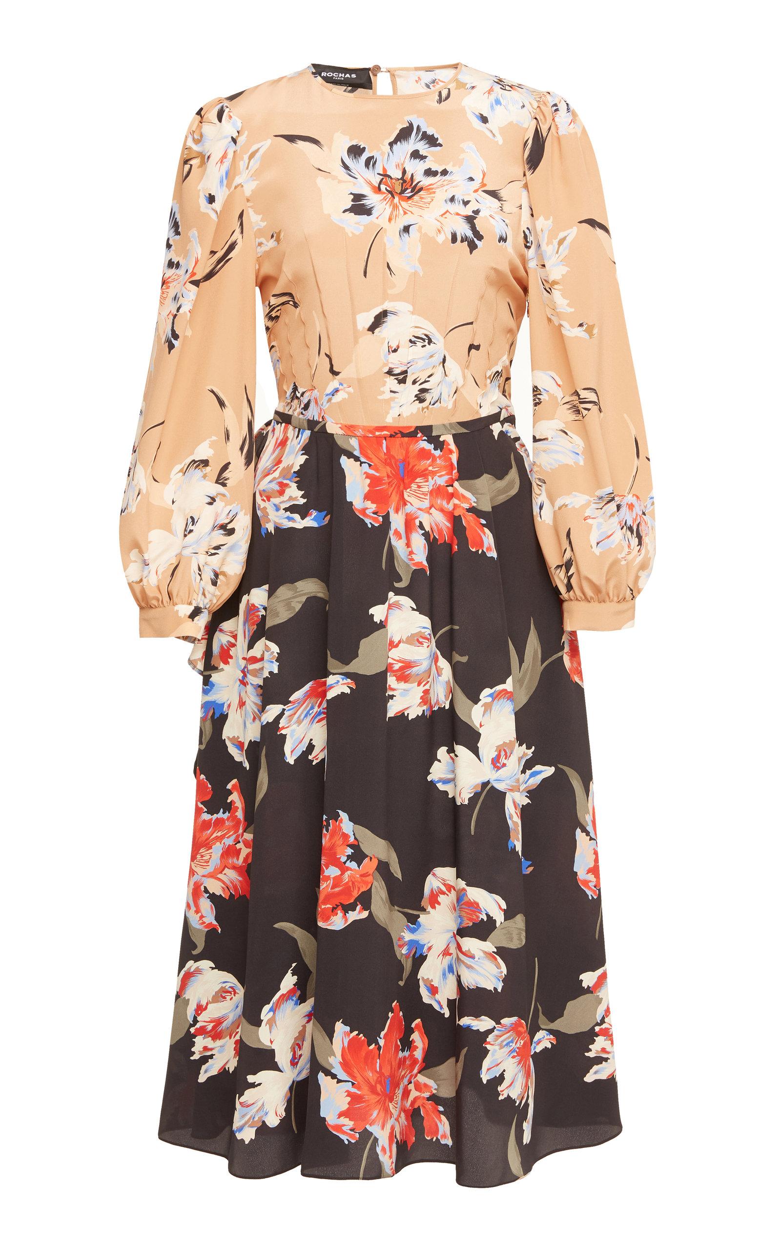 Rochas Onda Floral-Print Silk Dress