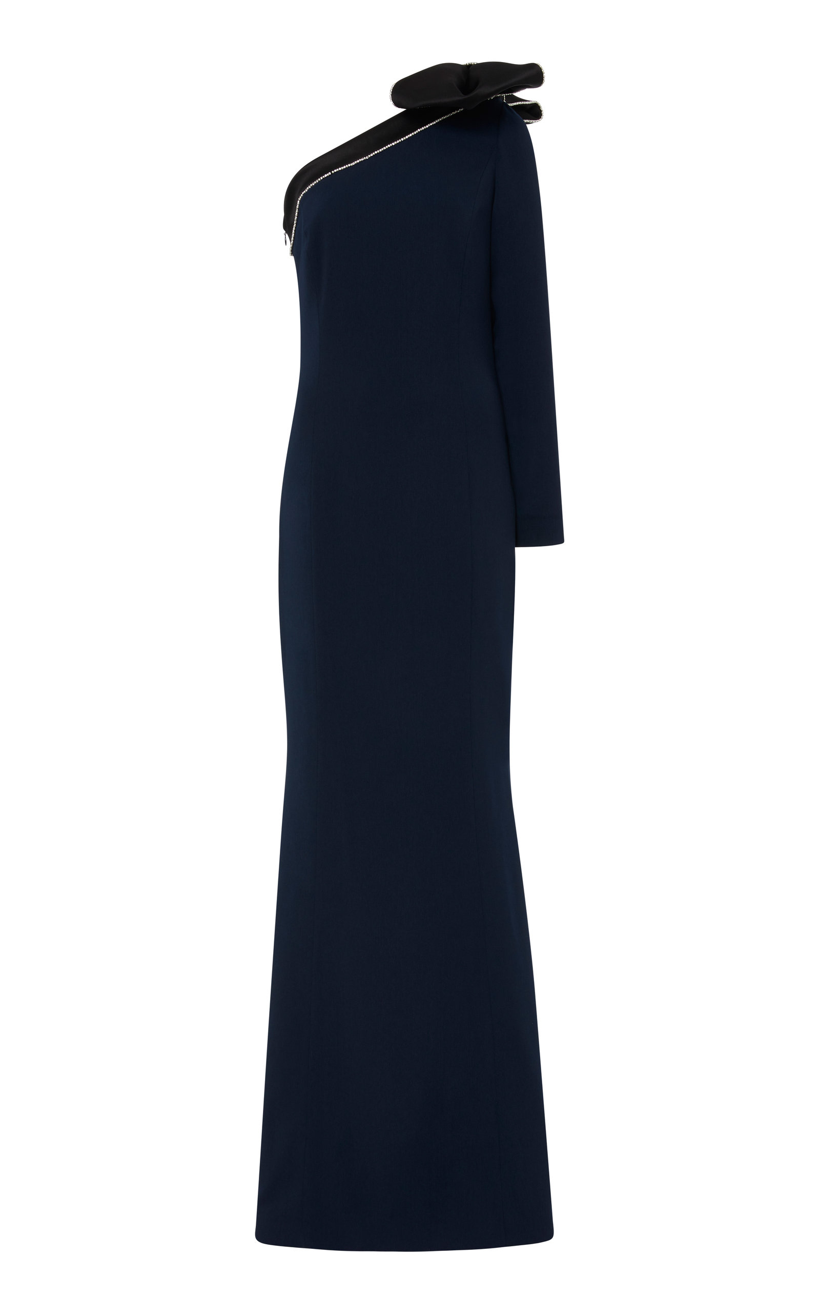 ELIZABETH KENNEDY One-Shoulder Crepe Gown in Blue