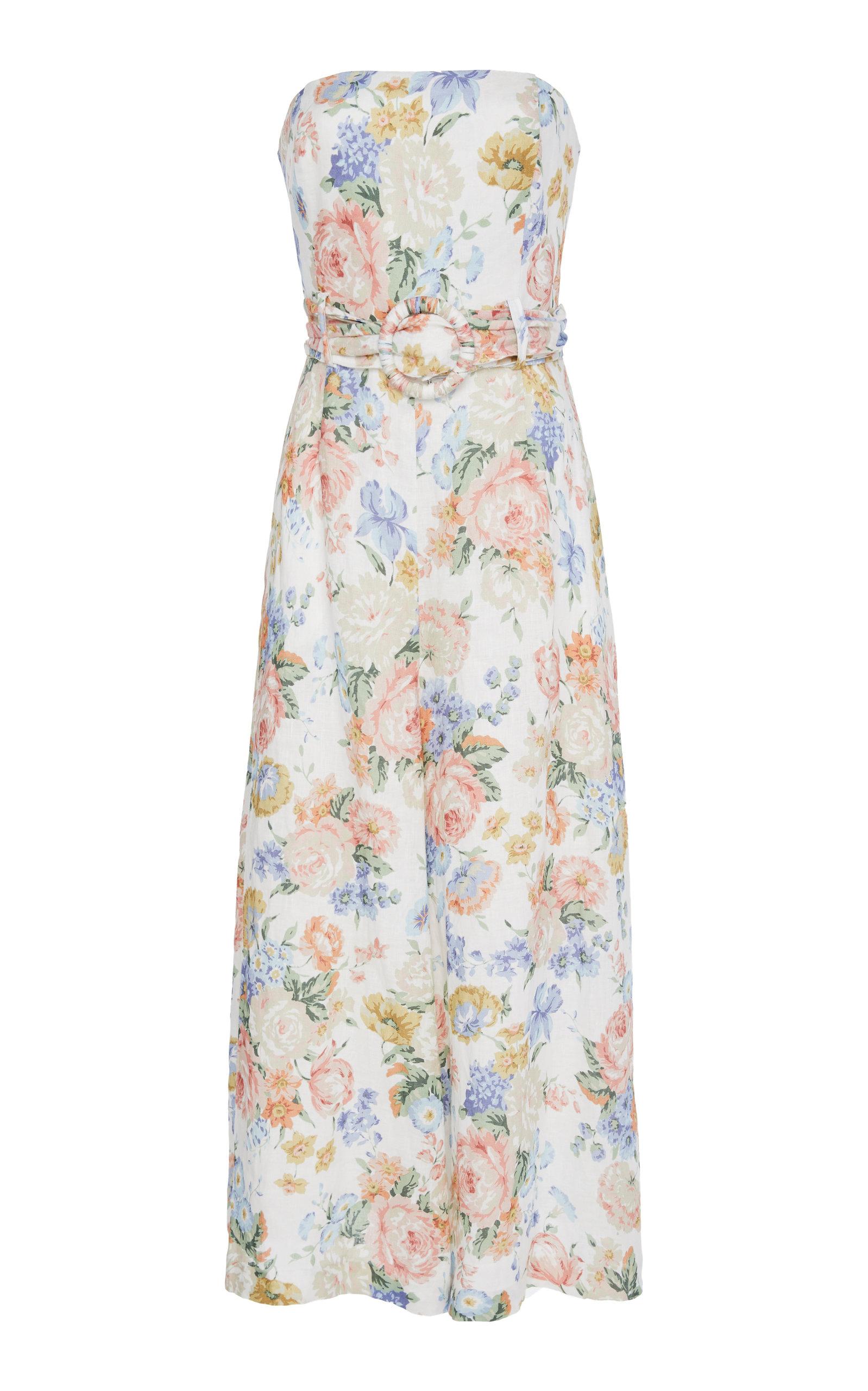 9941fcedc3 Zimmermann Bowie Strapless Linen Jumpsuit In Floral