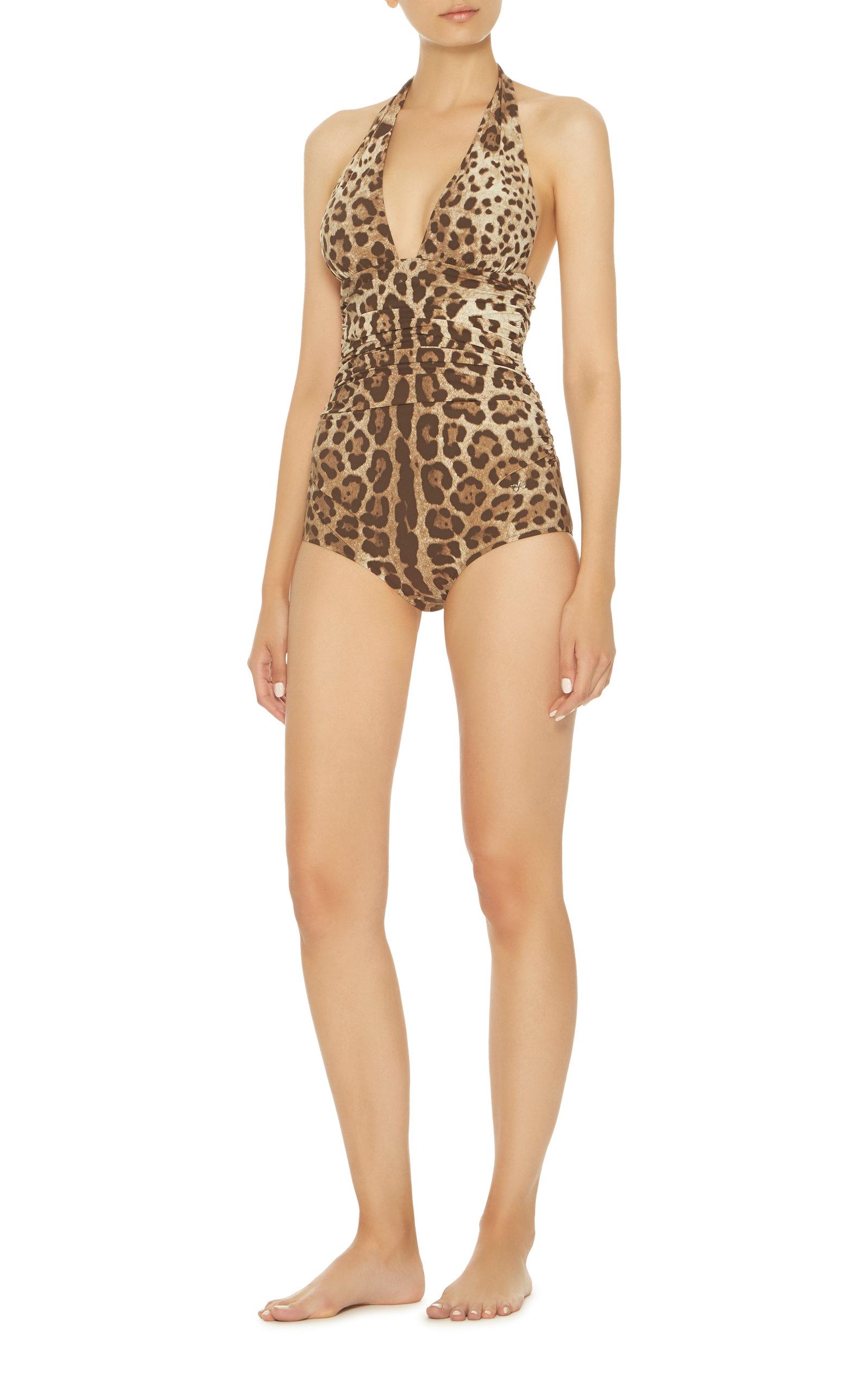 15d24ceb5dd Leo Leopard-Print Draped Swimsuit by Dolce & Gabbana | Moda Operandi