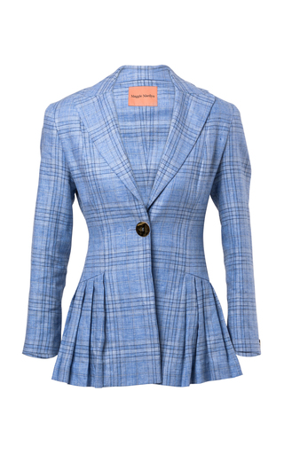 MAGGIE MARILYN | Maggie Marilyn Suit Yourself Pleated Plaid Linen Blazer | Goxip