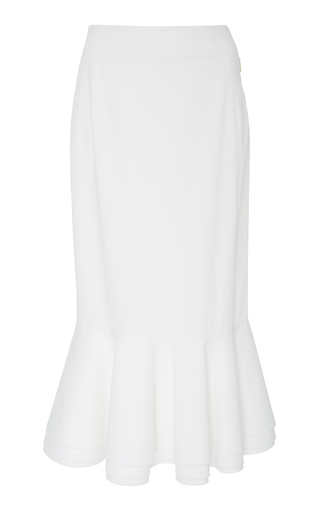 BROCK COLLECTION | Brock Collection Orchidea Ruffled Stretch-Cotton Midi Skirt | Goxip