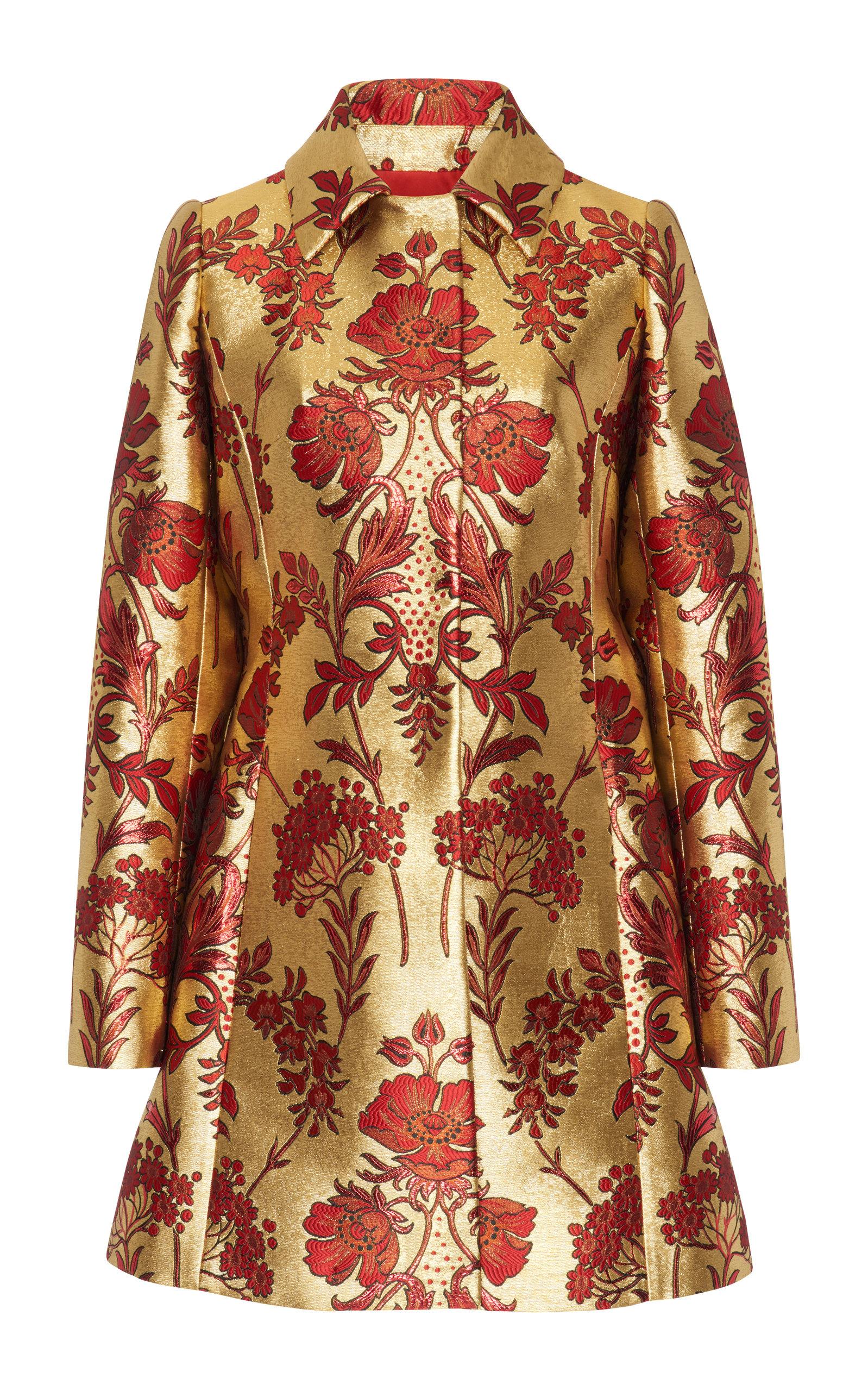 Metallic Floral-Jacquard Button-Front Coat