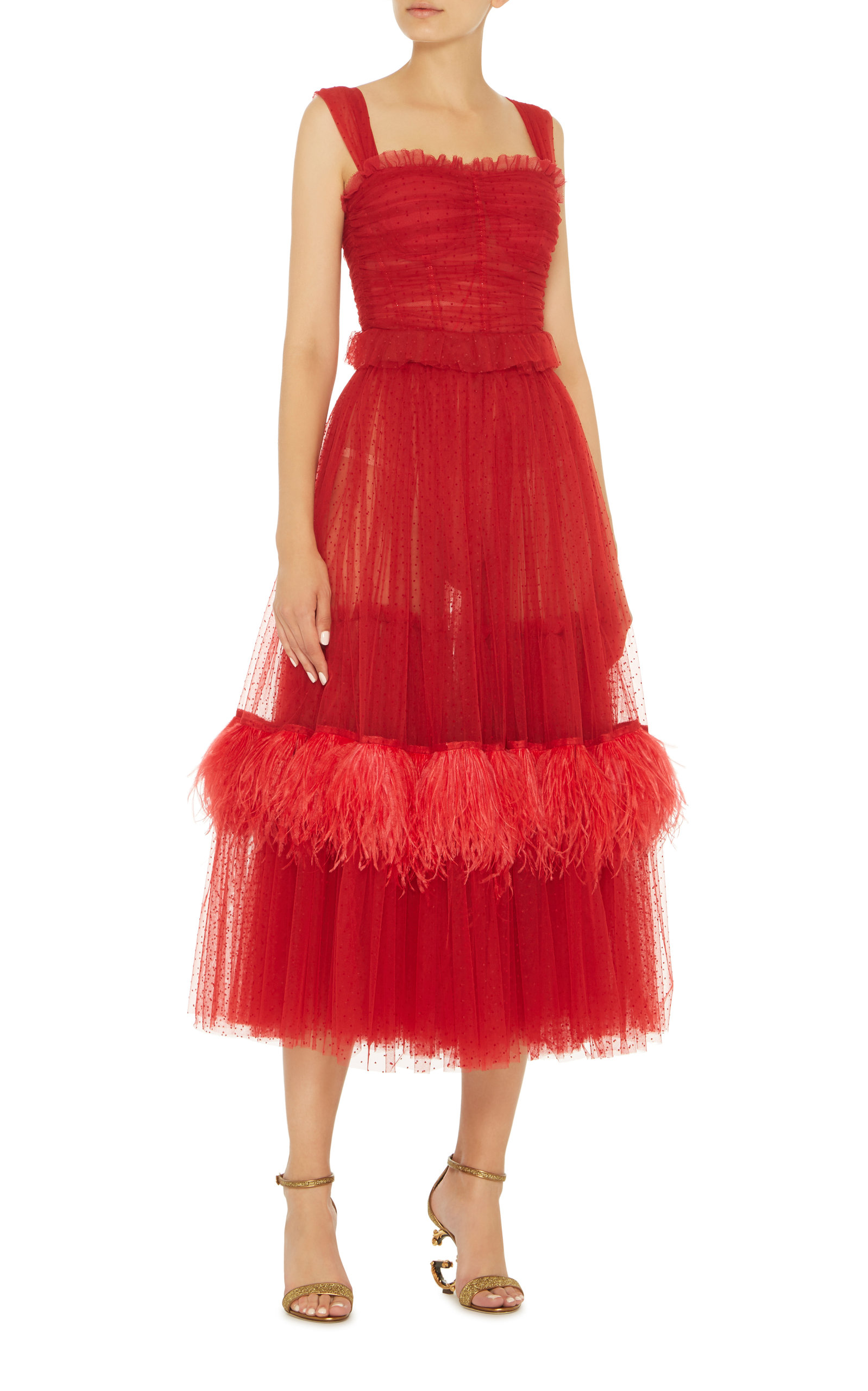 Feather-Embellished Tulle Midi Dress in red