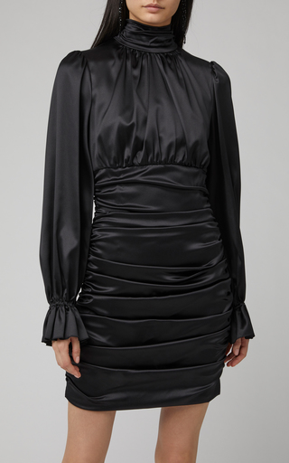 6a66b4e8add Dolce   GabbanaFlared Cuff Ruched Satin Mini Dress