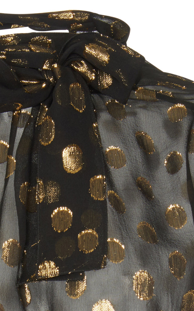 cf21c9b813ee Metallic Polka Dot Organza Pussybow Blouse by Dolce & Gabbana | Moda ...