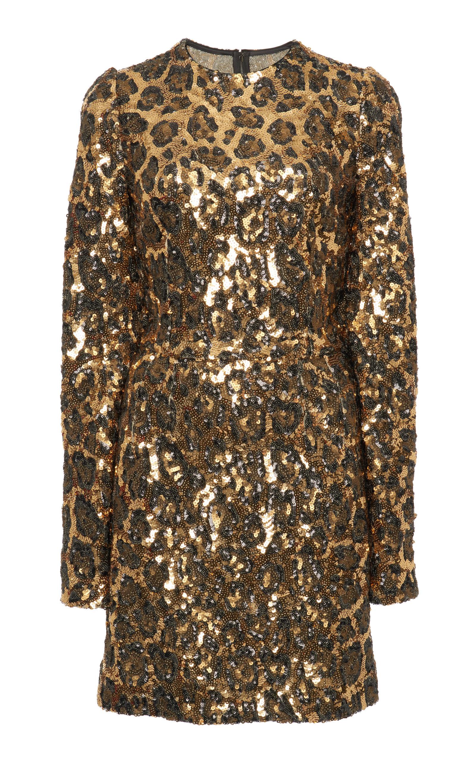 3eaa6a5d43 DOLCE & GABBANA LEOPARD PRINT SEQUIN MINI DRESS, ANIMAL | ModeSens