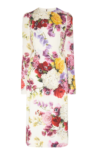 DOLCE & GABBANA | Dolce & Gabbana Floral Stretch-Silk Midi Dress | Goxip