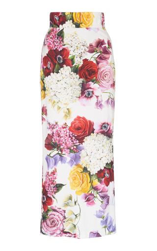 DOLCE & GABBANA | Dolce & Gabbana Floral Print Cady Midi Skirt | Goxip