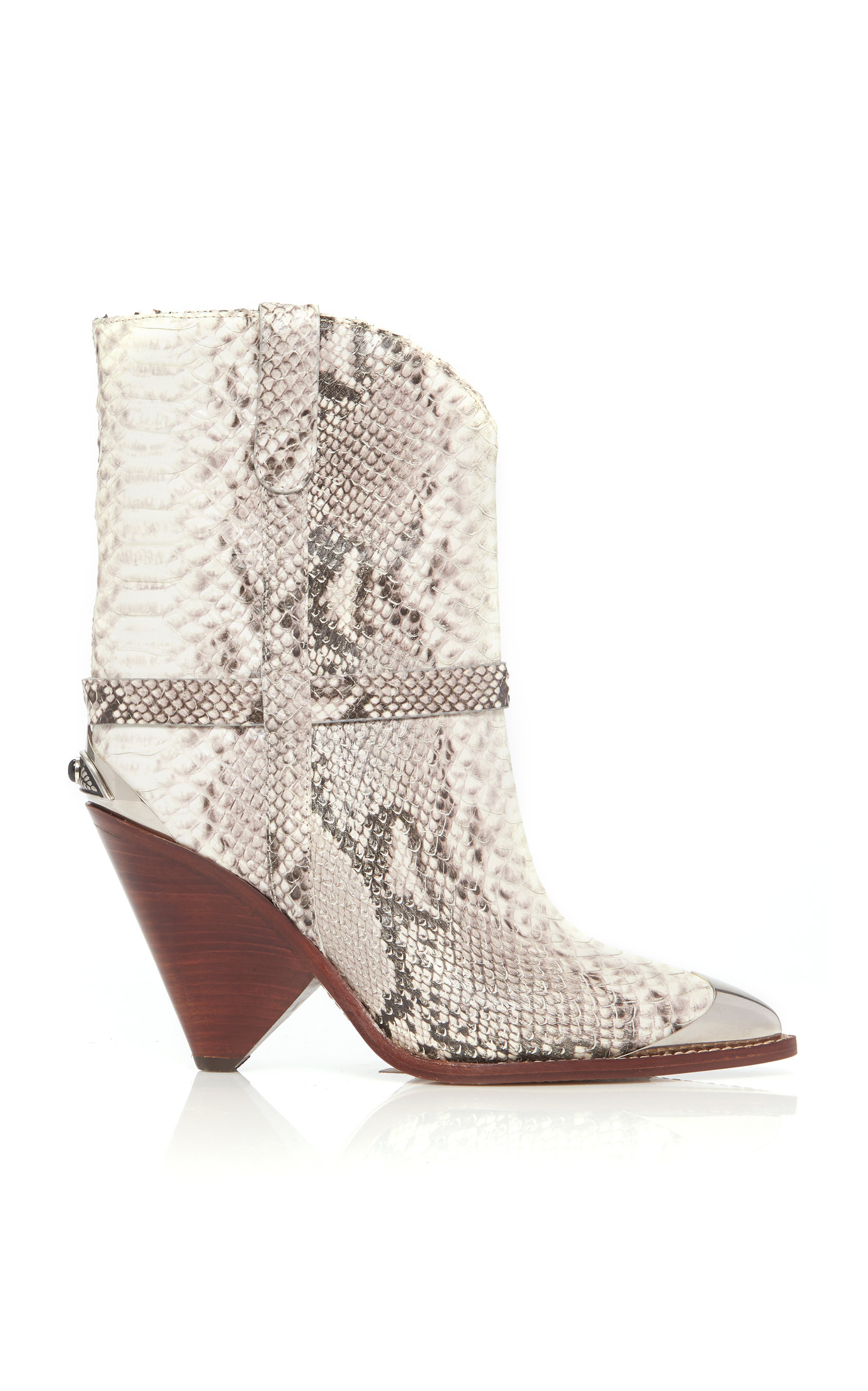 Lamsy Embellished Snake-Effect Leather Ankle Boots in Snake Print from Moda Operandi