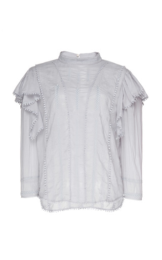 b526c4df0815 Isabel Marant ÉtoileAnny Ruffled Cotton-Voile Top