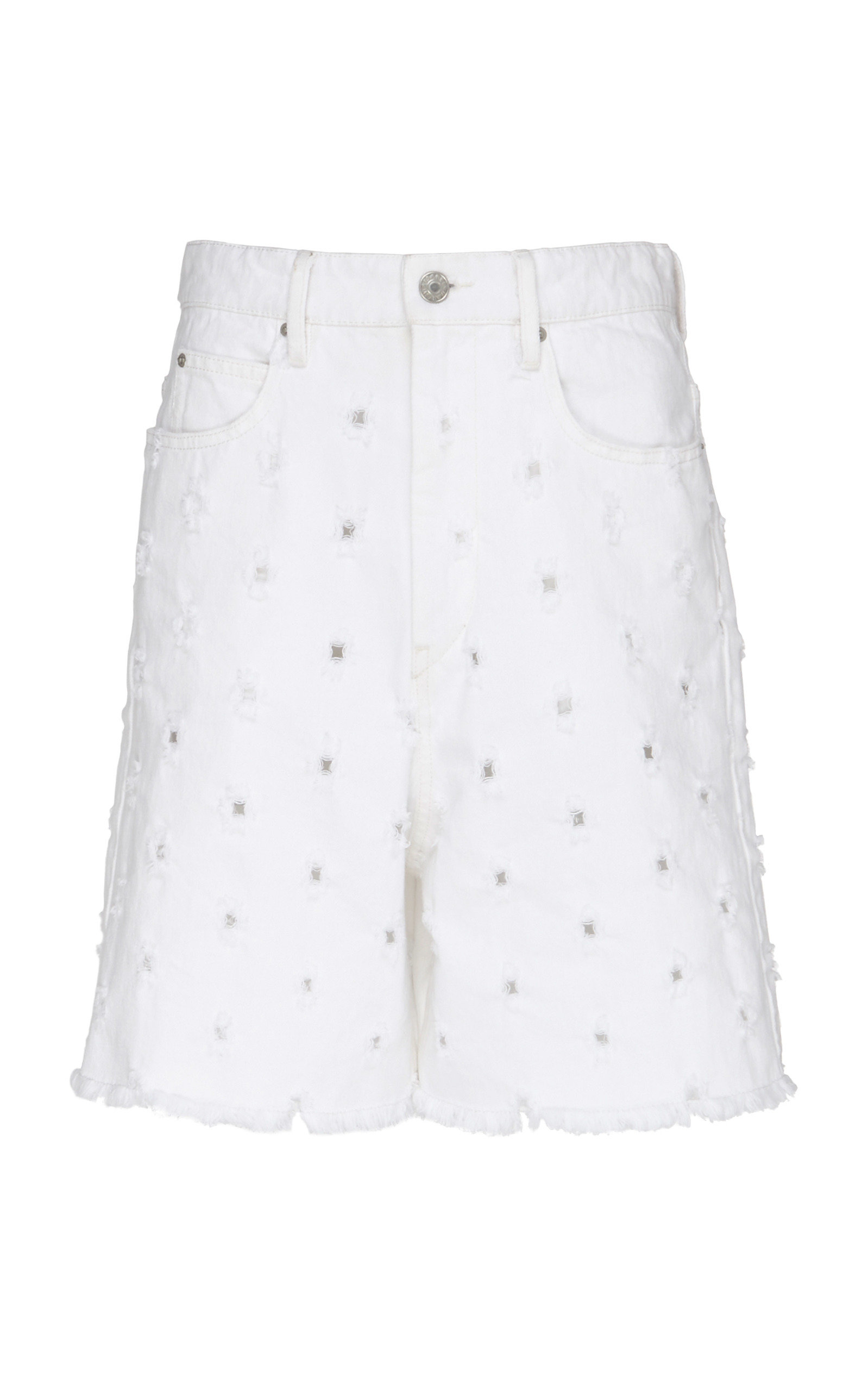 Liny Mid-Rise Frayed Denim Shorts With Holes in White