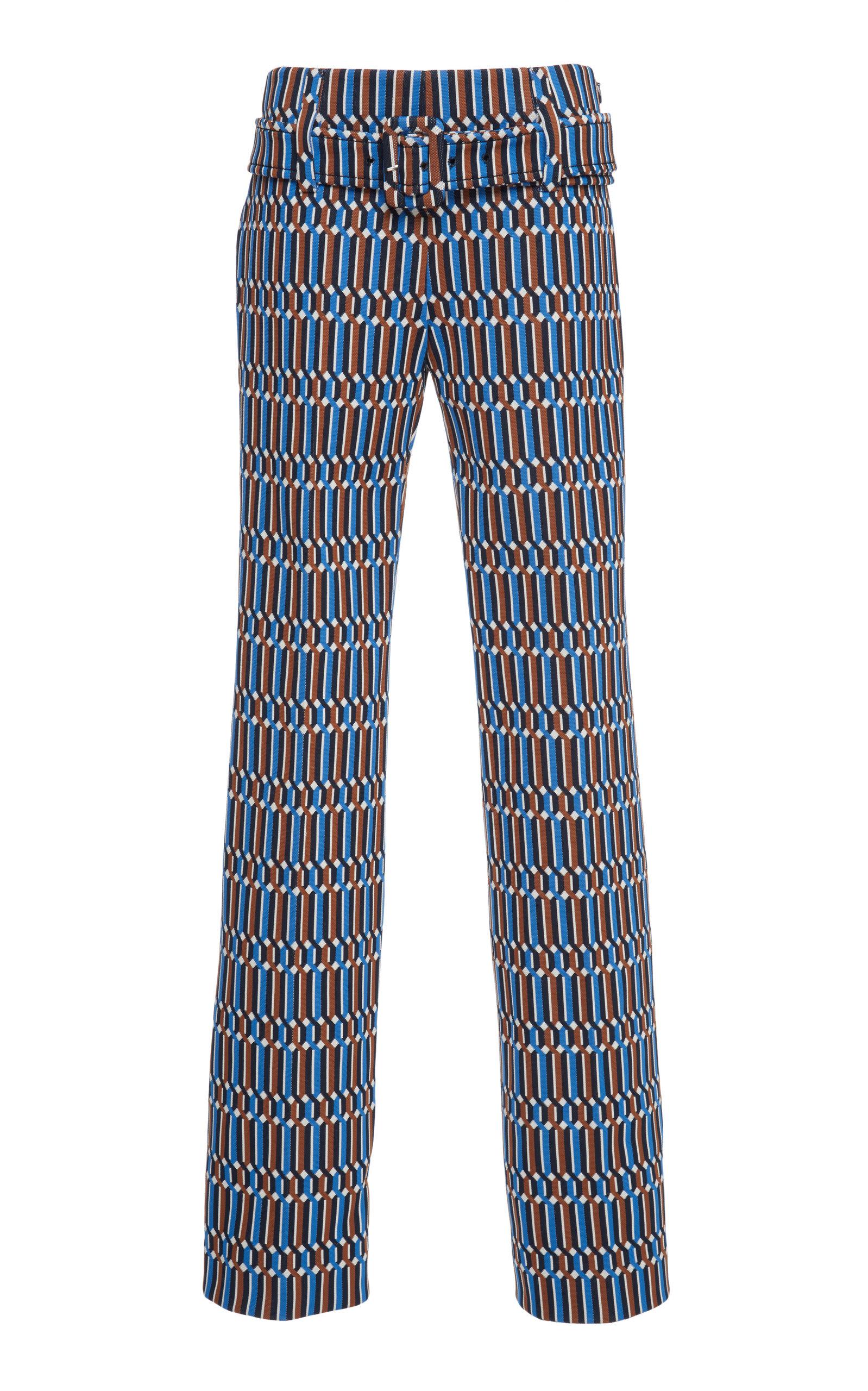 PRADA | Prada Belted Printed Straight-Leg Pants | Goxip