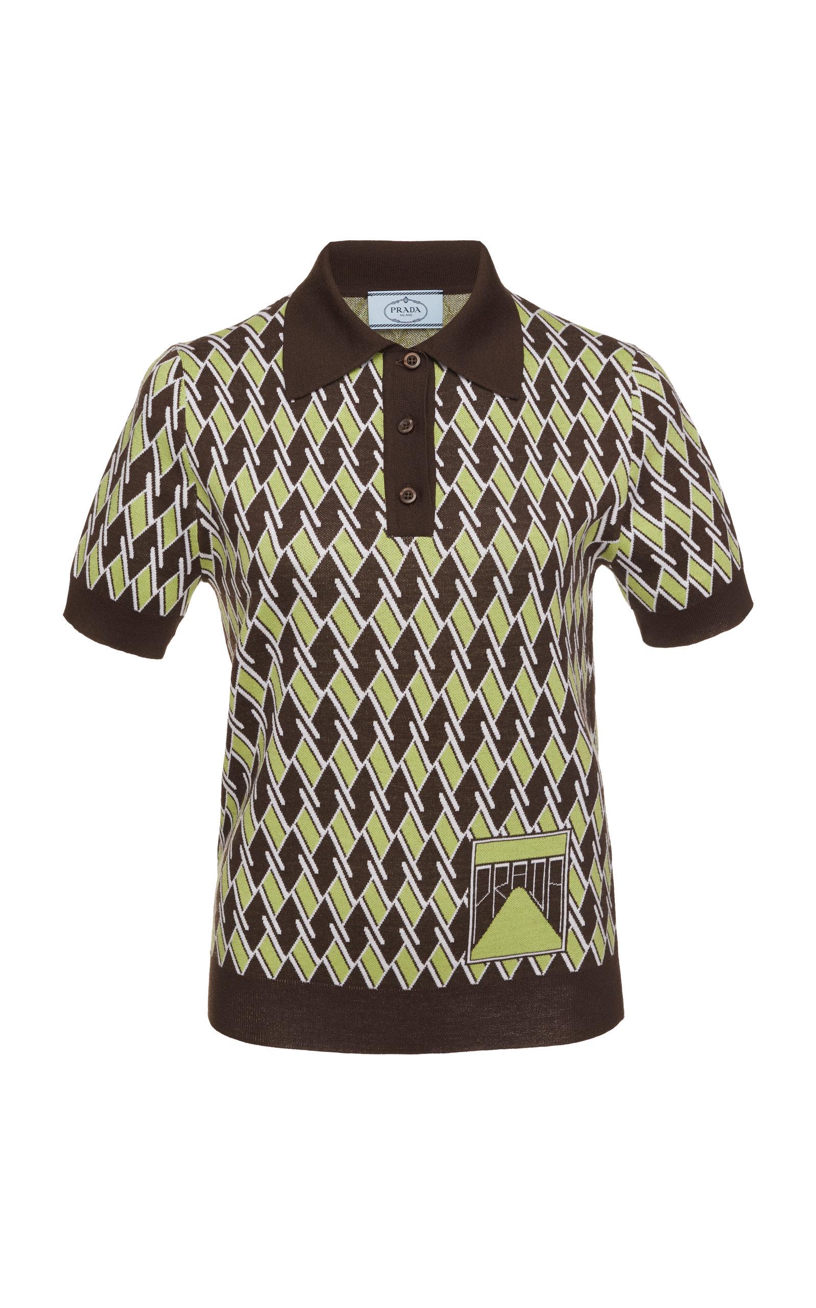 Prada Printed Polo Shirt In Brown Modesens
