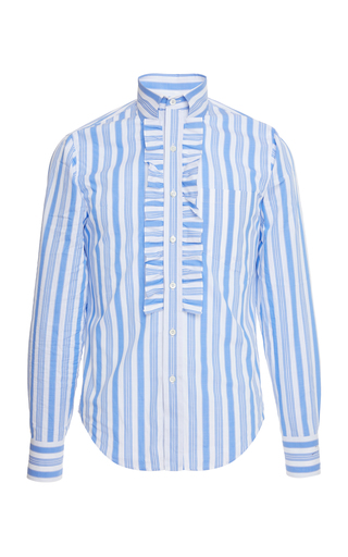 PRADA | Prada Righe Baiadera Ruffle Cotton-Poplin Dress Shirt | Goxip