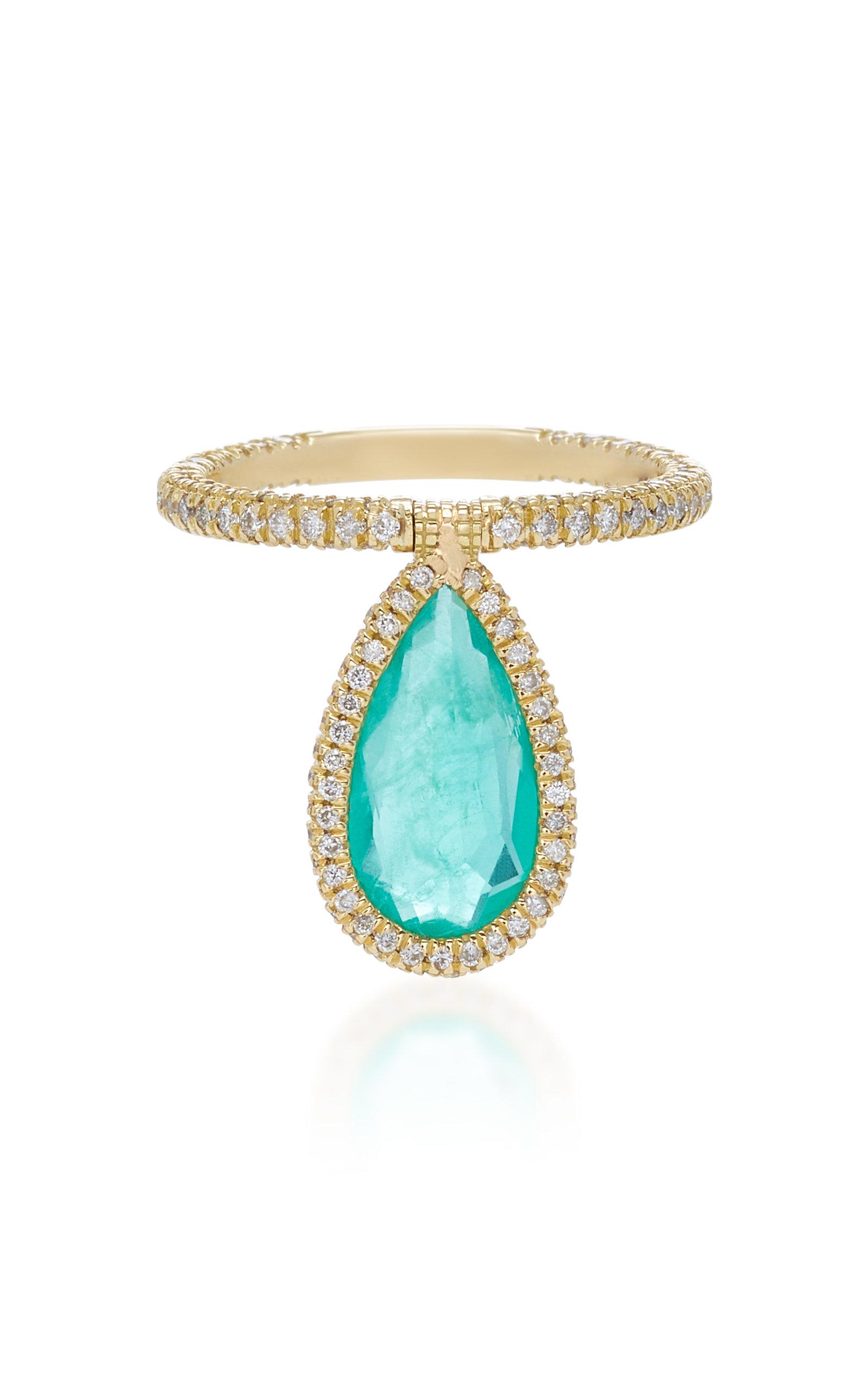 NINA RUNSDORF 18K Gold And Emerald Flip Ring in Green