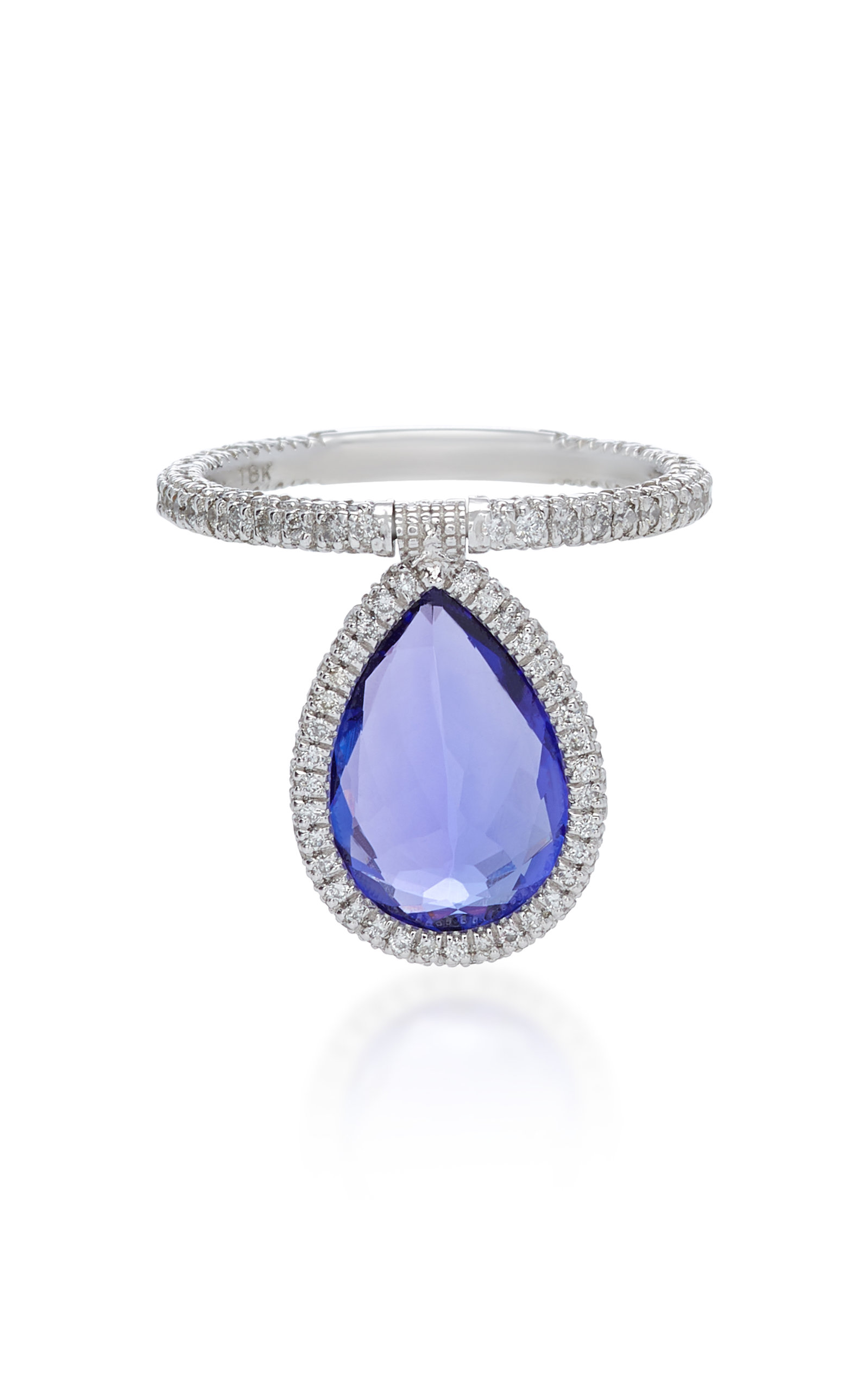 NINA RUNSDORF 18K Platinum And Tanzanite Flip Ring in Blue