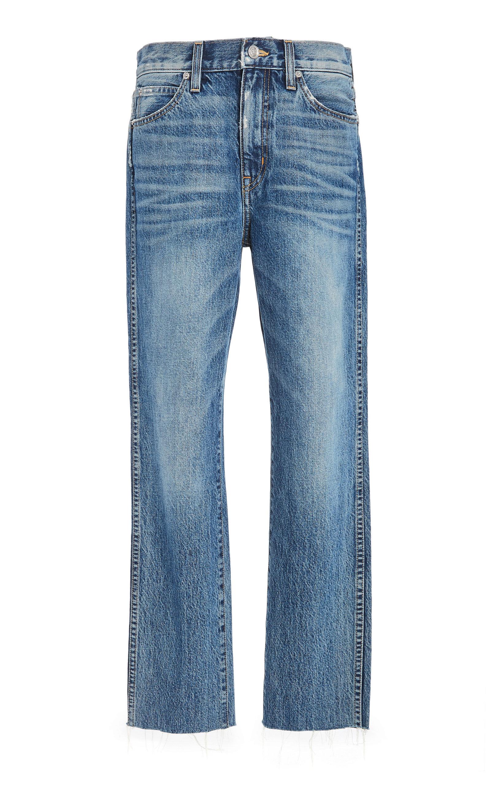 SLVRLAKE DENIM Hero Cropped Raw Hem Mid-Rise Straight-Leg Jeans in Medium Wash