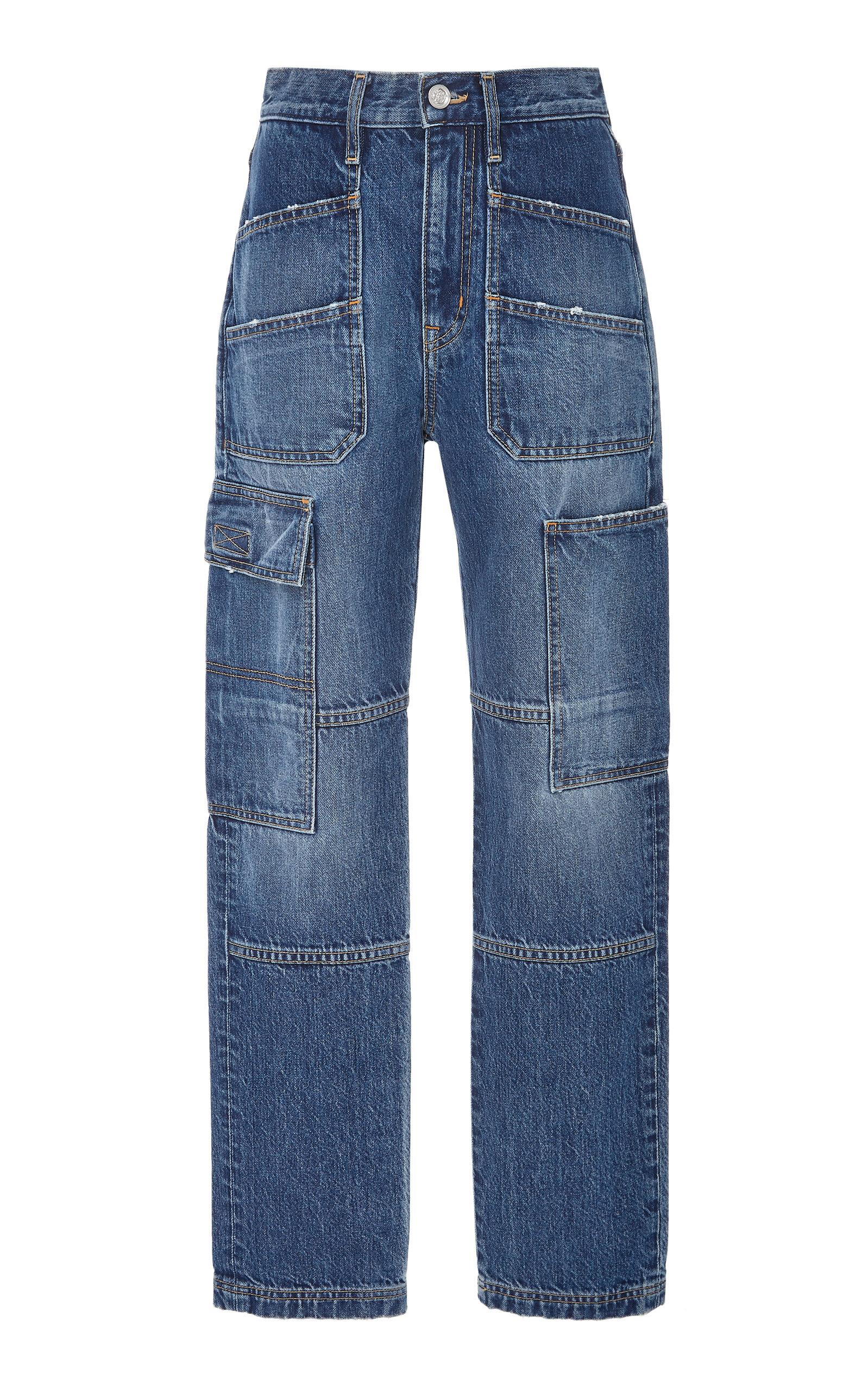 SLVRLAKE DENIM Savior High-Rise Straight-Leg Cargo Jeans in Dark Wash