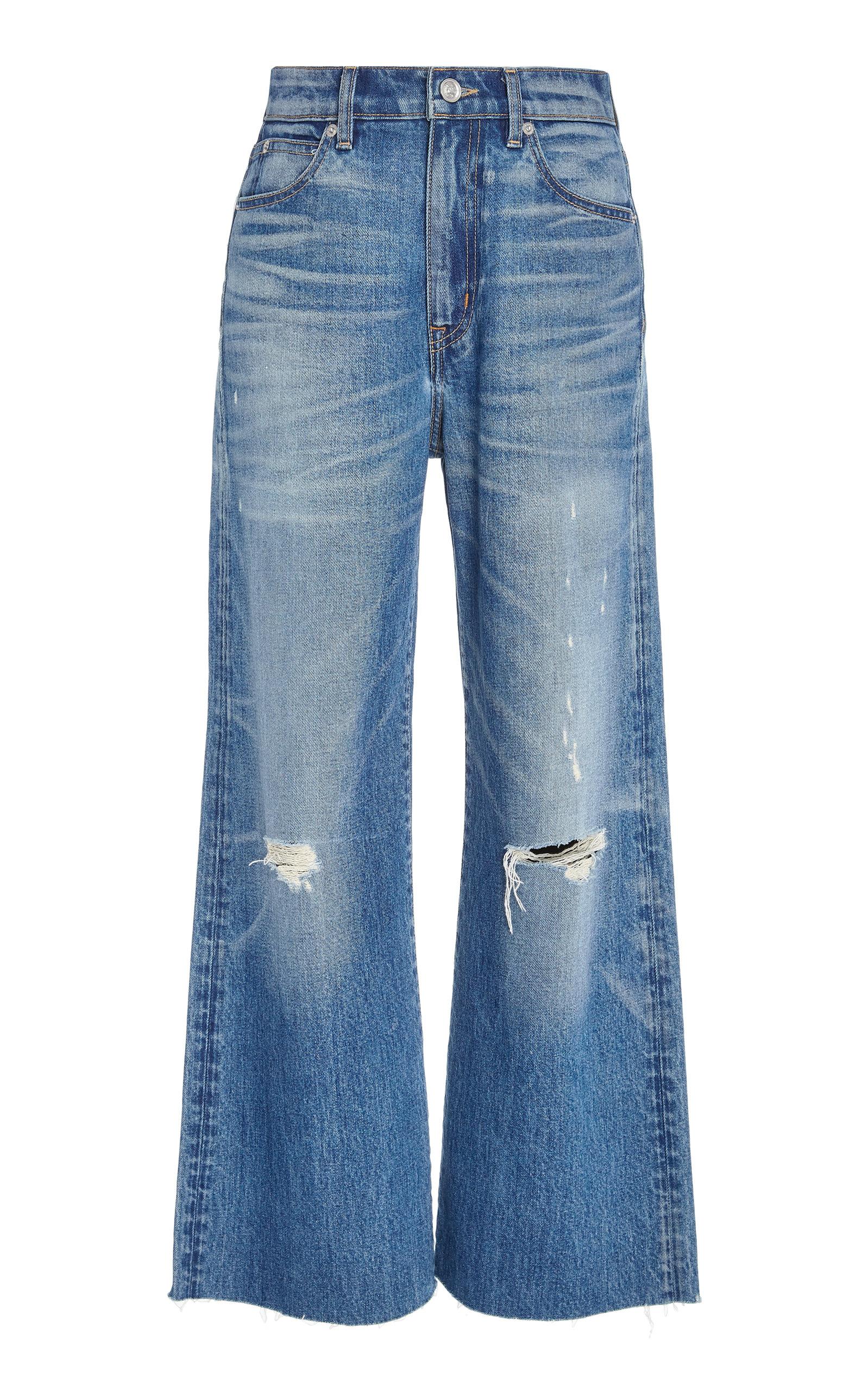 SLVRLAKE DENIM Grace Cropped High-Rise Flare Jeans in Medium Wash