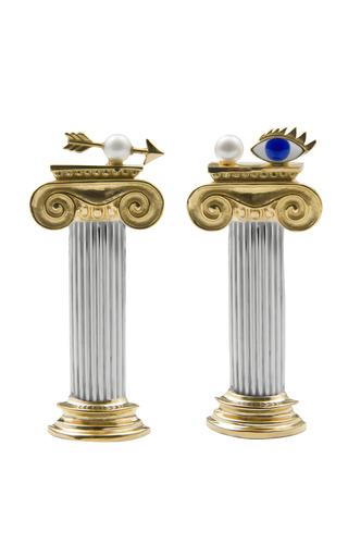 Medium delfina delettrez gold solar enigma earrings