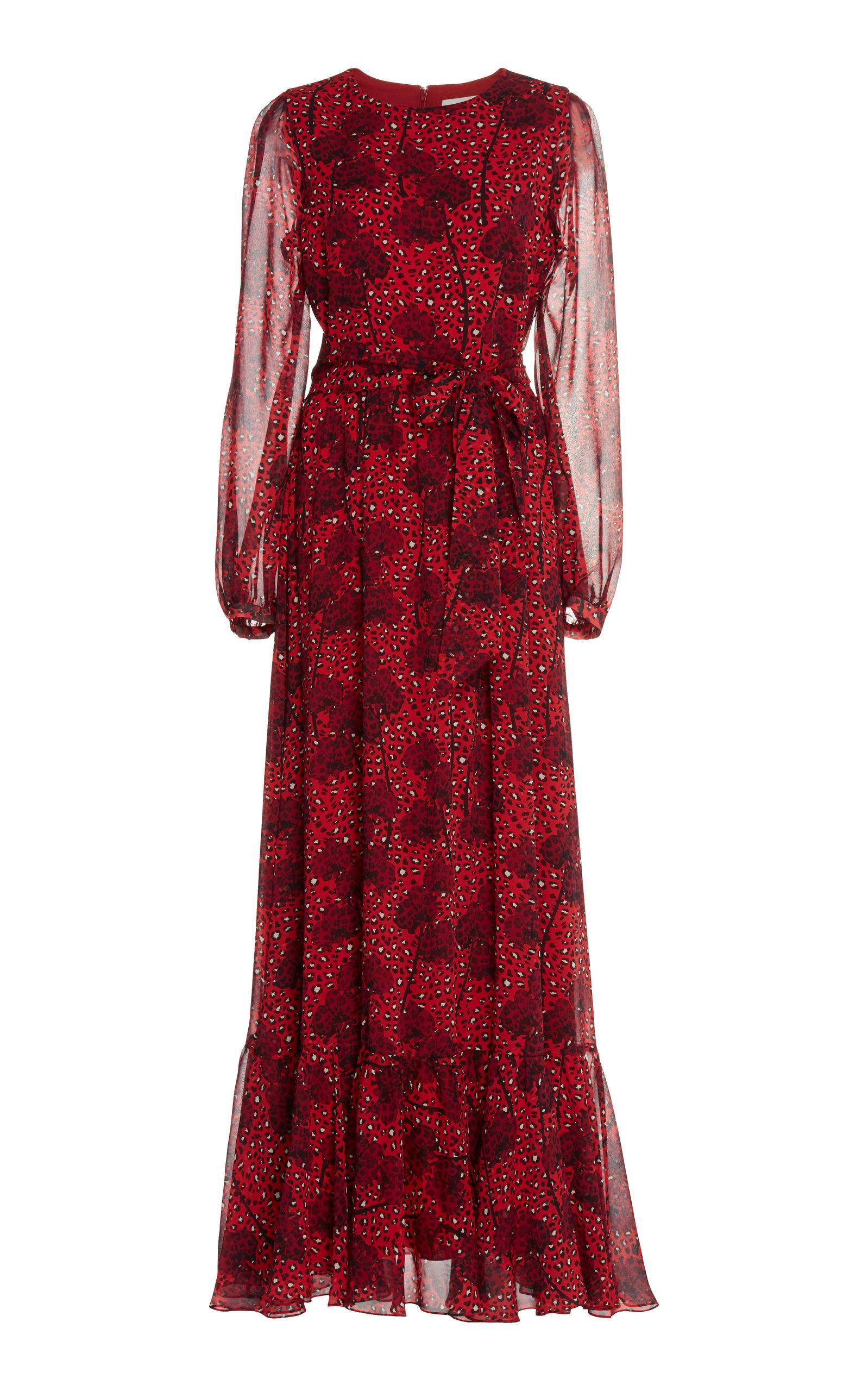 Dianora Georgette Ruffled Maxi Dress Borgo De Nor nQZsWENr