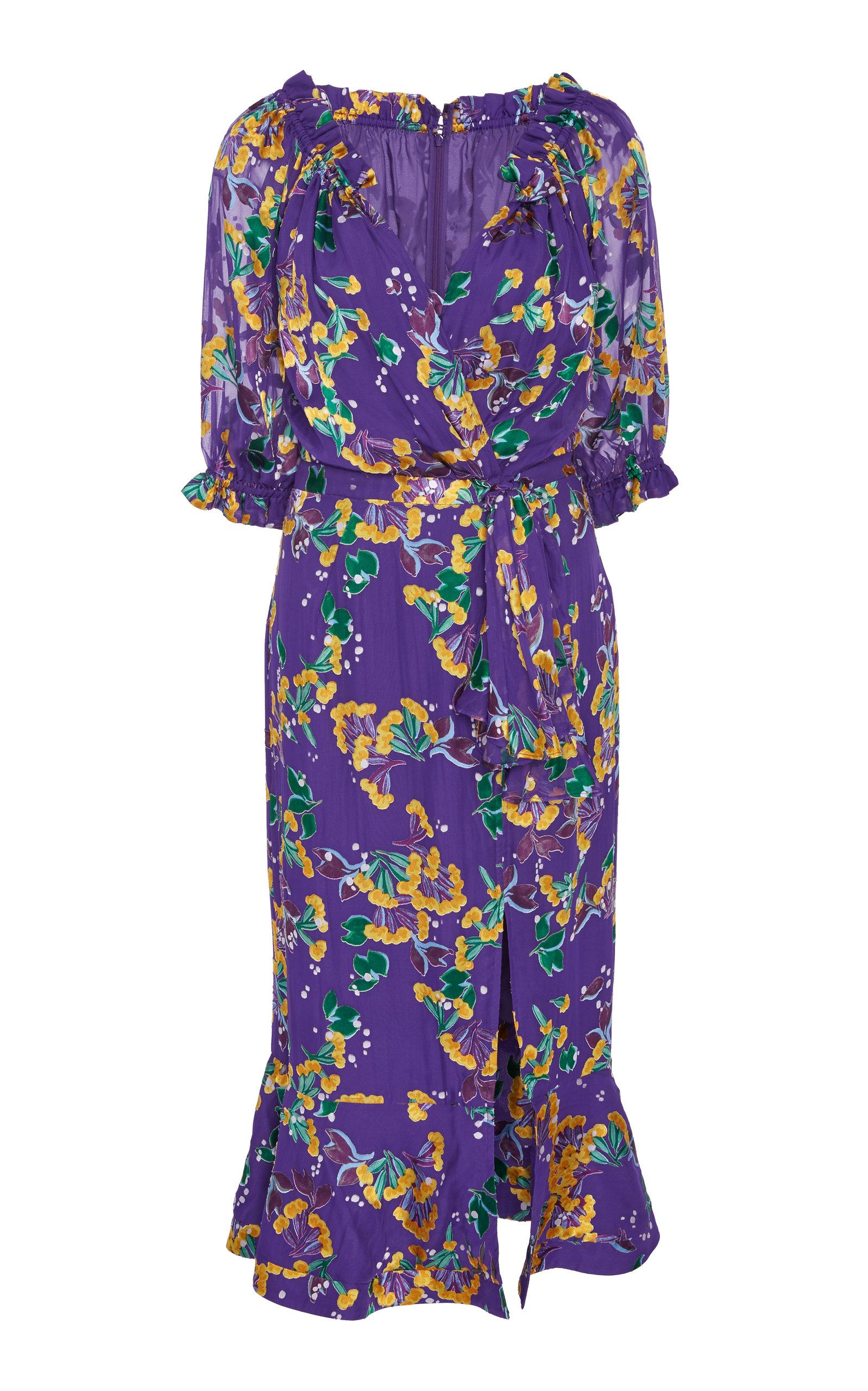 a65a6ee31c4d3 SaloniOlivia Ruffled Floral-Print Silk-Chiffon Midi Dress. CLOSE. Loading