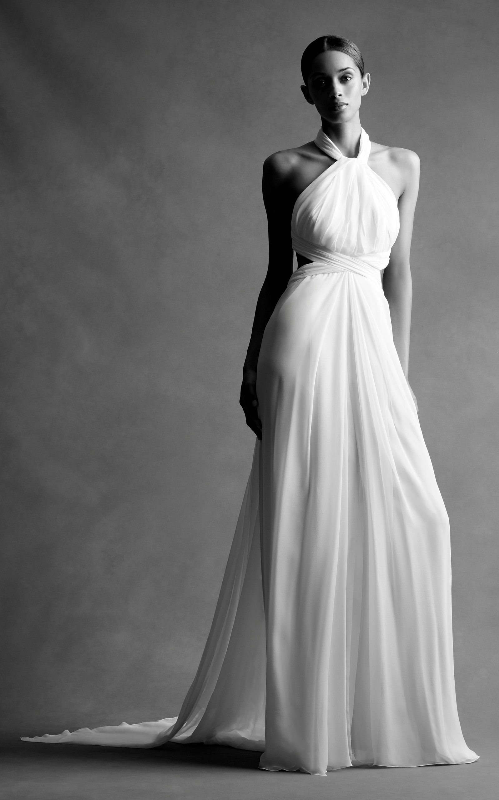 BRANDON MAXWELL BRIDAL M'O Exclusive: Chiffon Cross Back Gown in White