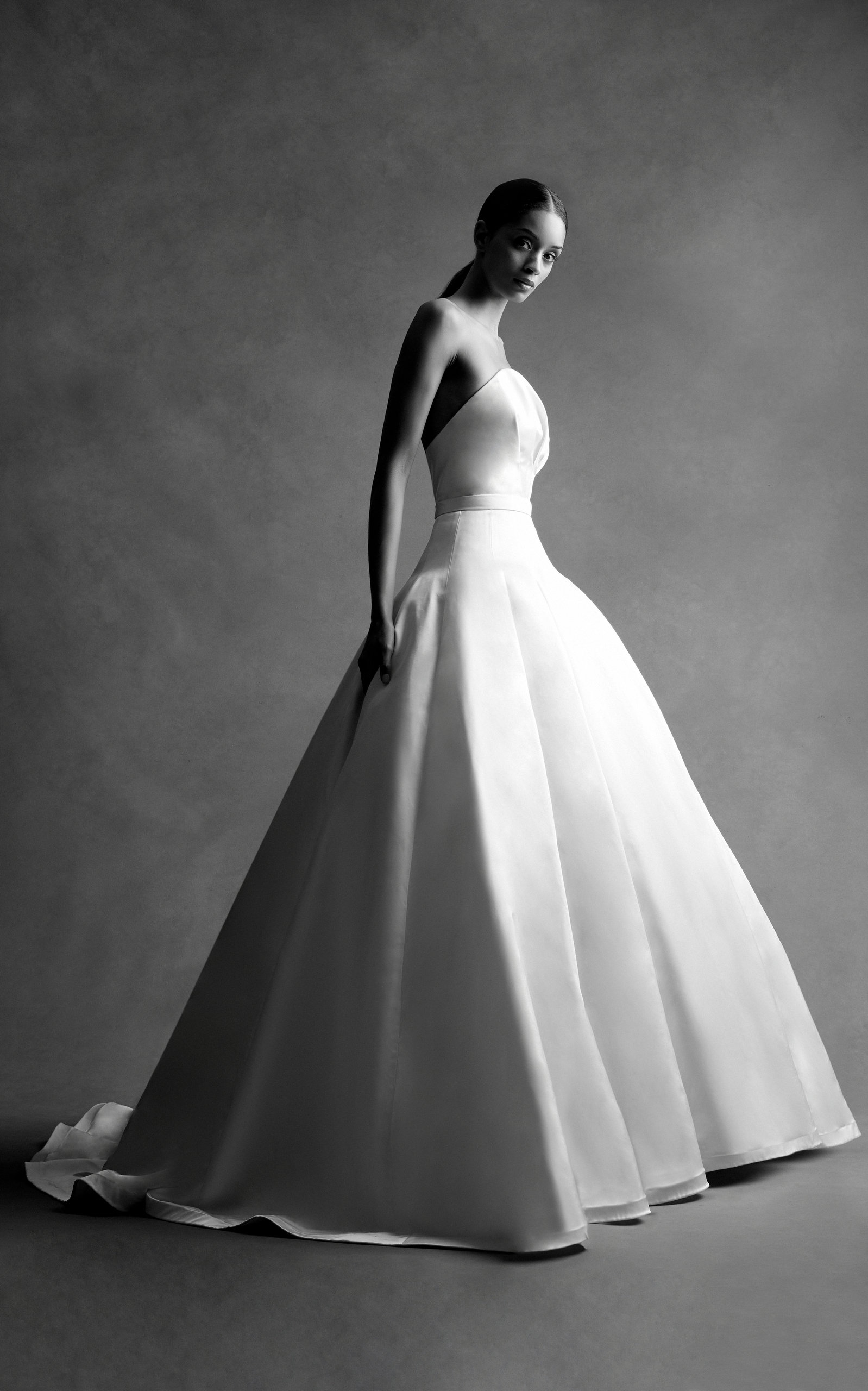 BRANDON MAXWELL BRIDAL M'O Exclusive: Strapless Bustier Ball Gown in White