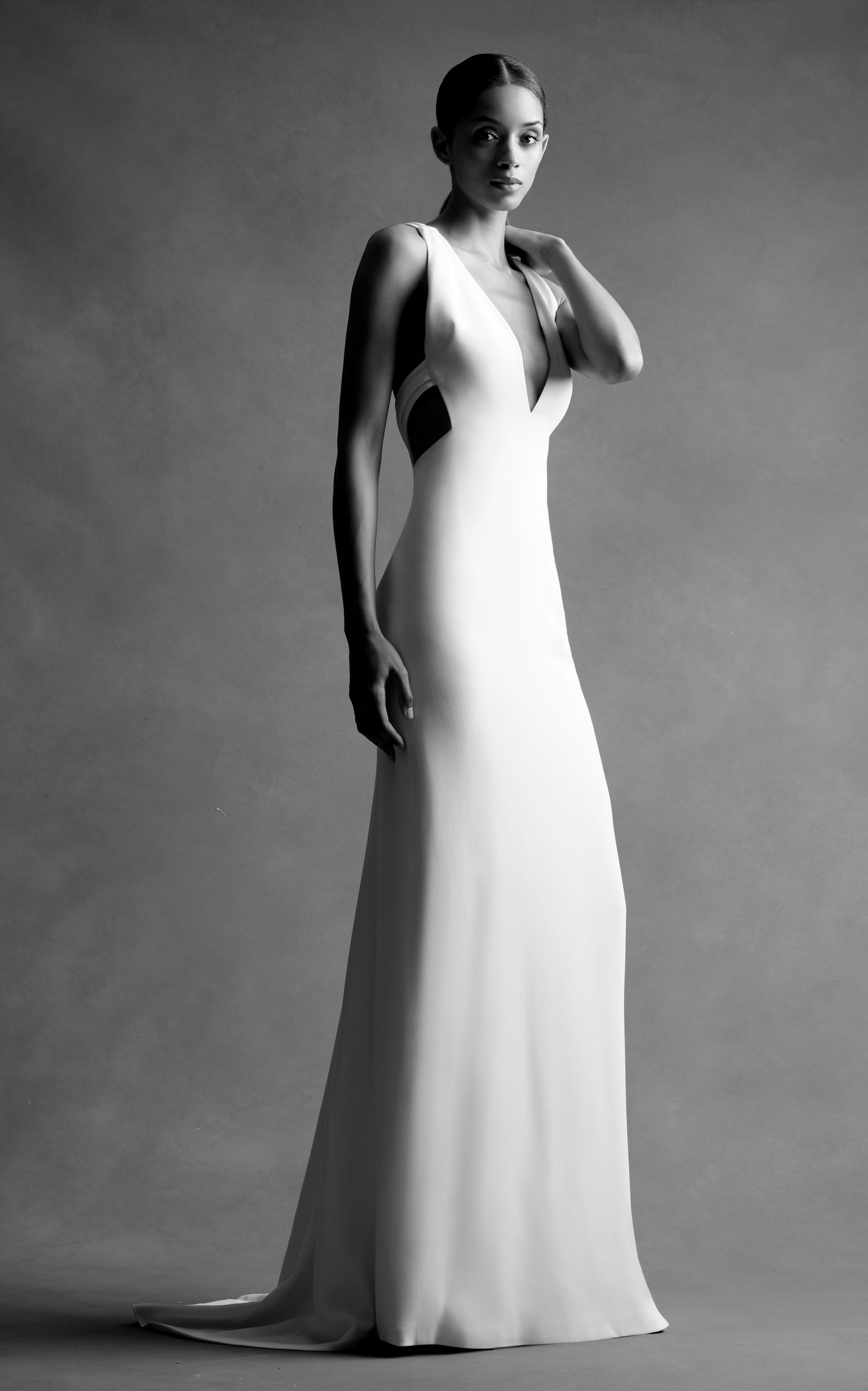 BRANDON MAXWELL BRIDAL M'O Exclusive: Deep V Open Back Gown in White