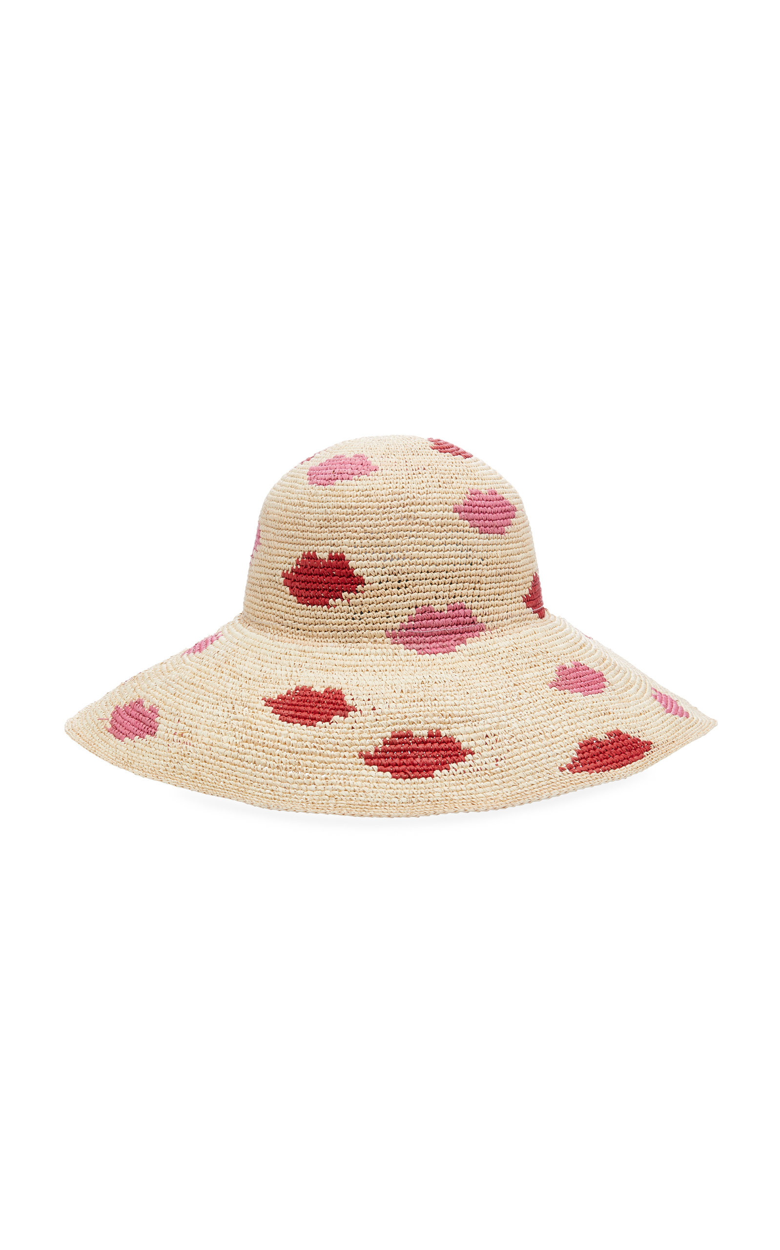 YESTADT MILLINERY Kisses Patterned Straw Hat in Neutral