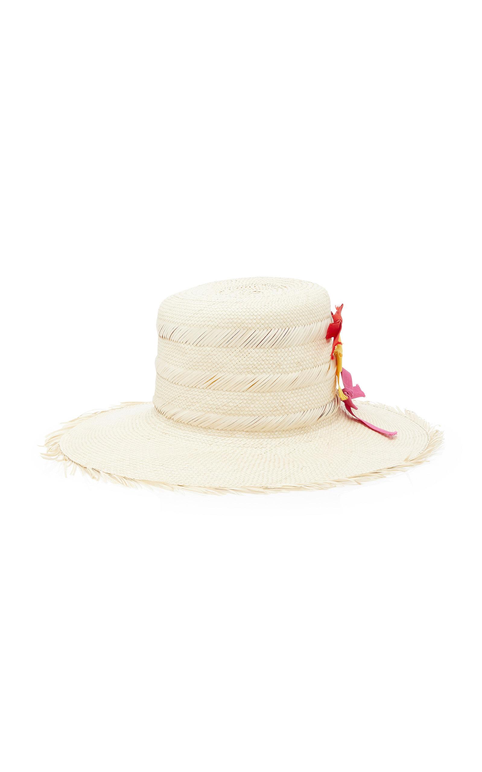 YESTADT MILLINERY Trois Bow Straw Hat in Neutral