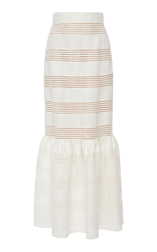 ZIMMERMANN | Zimmermann Corsage Striped Linen Midi Skirt | Goxip