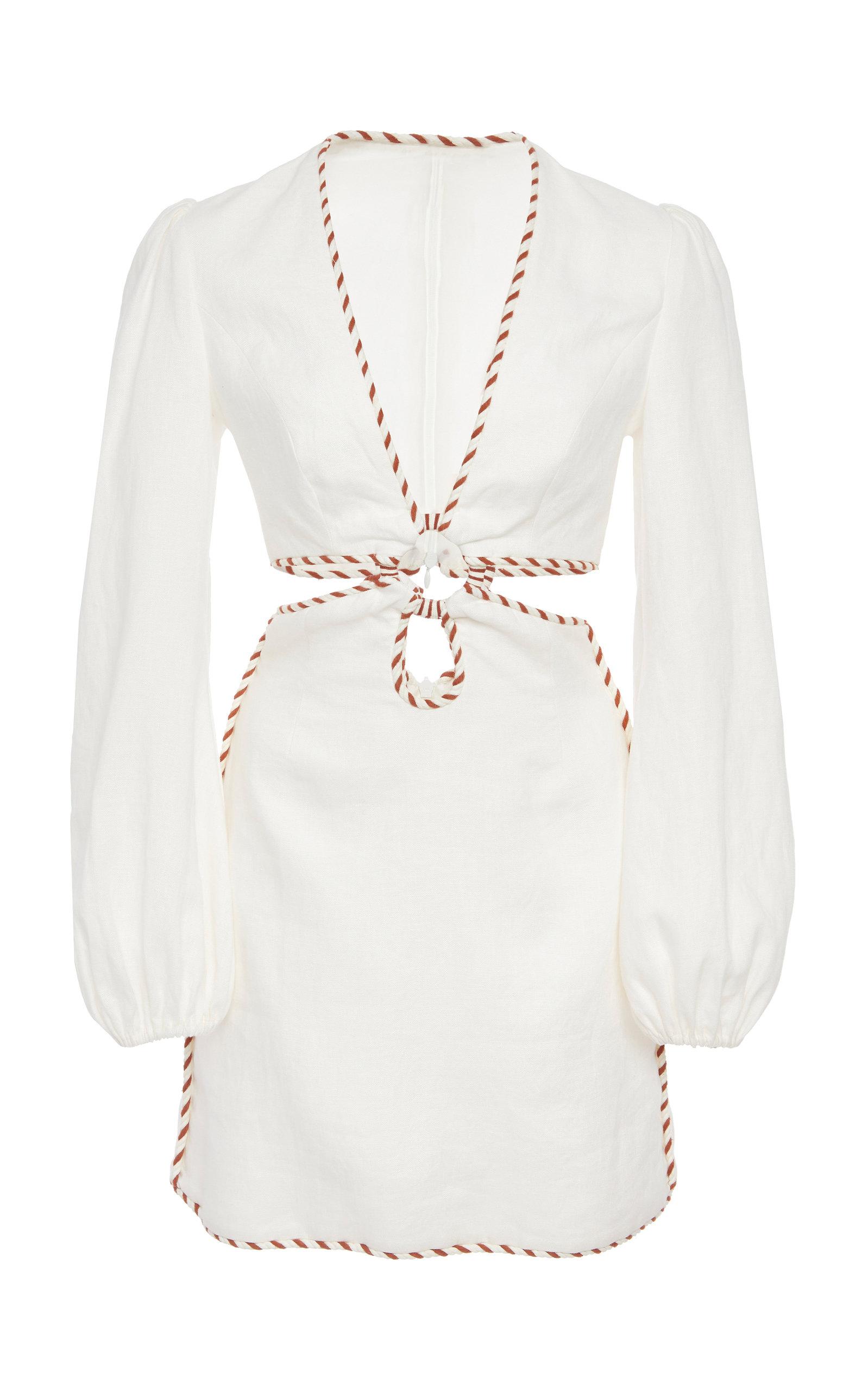 Corsage O-Ring Cutout Mini Dress W/ Braided Trim in White