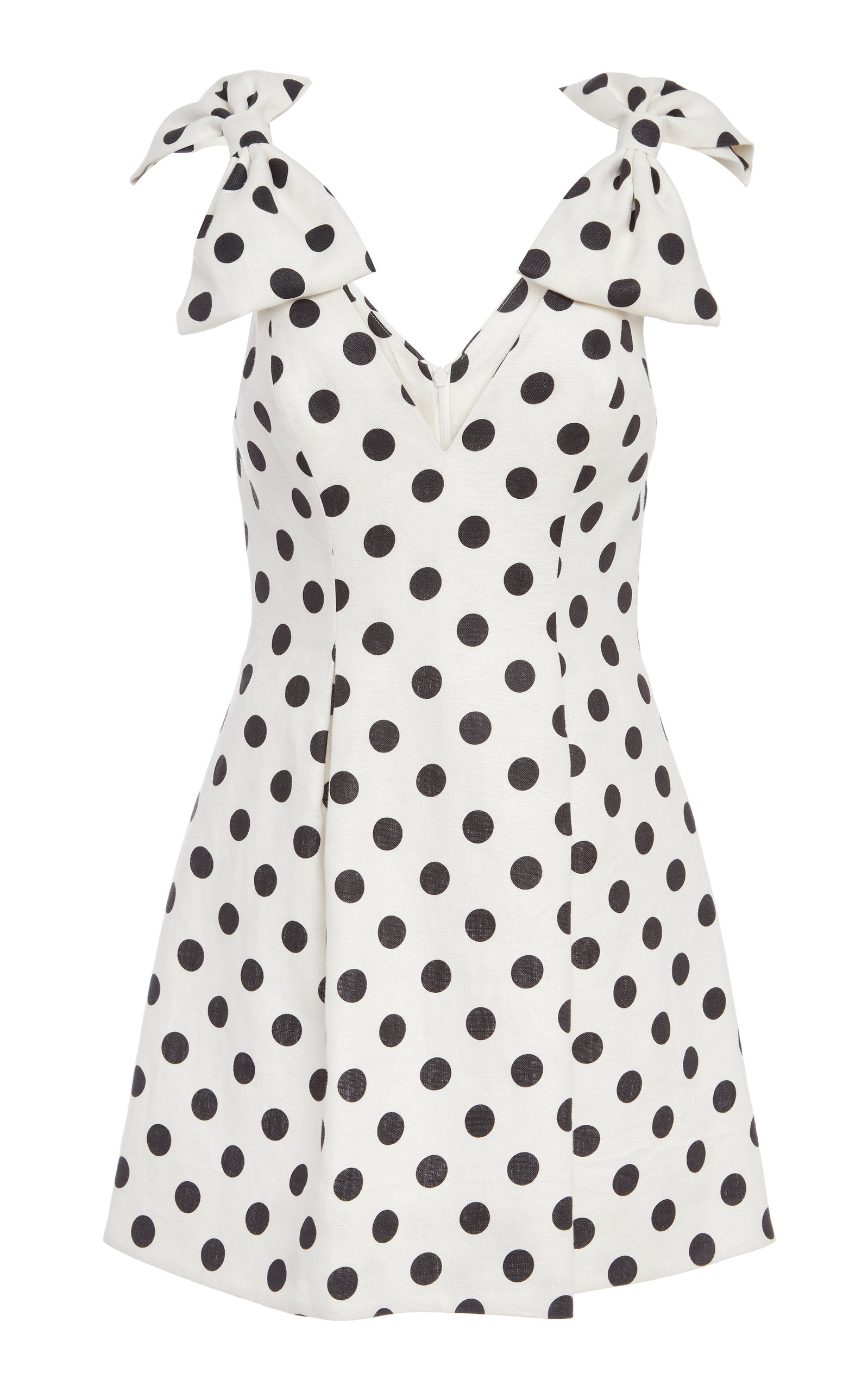 Zimmermann Linens Bow-Detailed Polka-Dot Linen Mini Dress