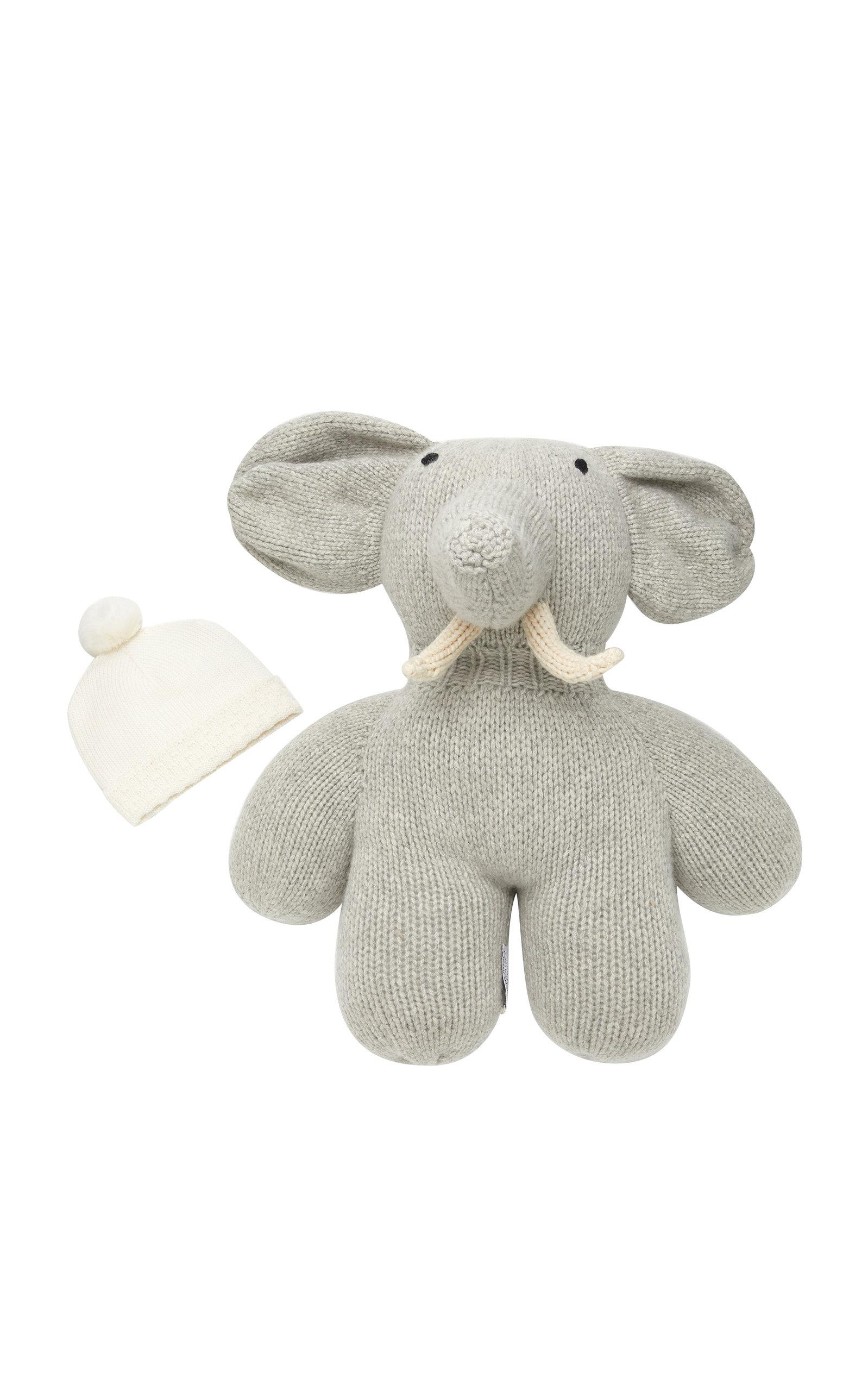 IL BORGO Infant Pom-Pom Hat And Elephant Cashmere Set in Neutral