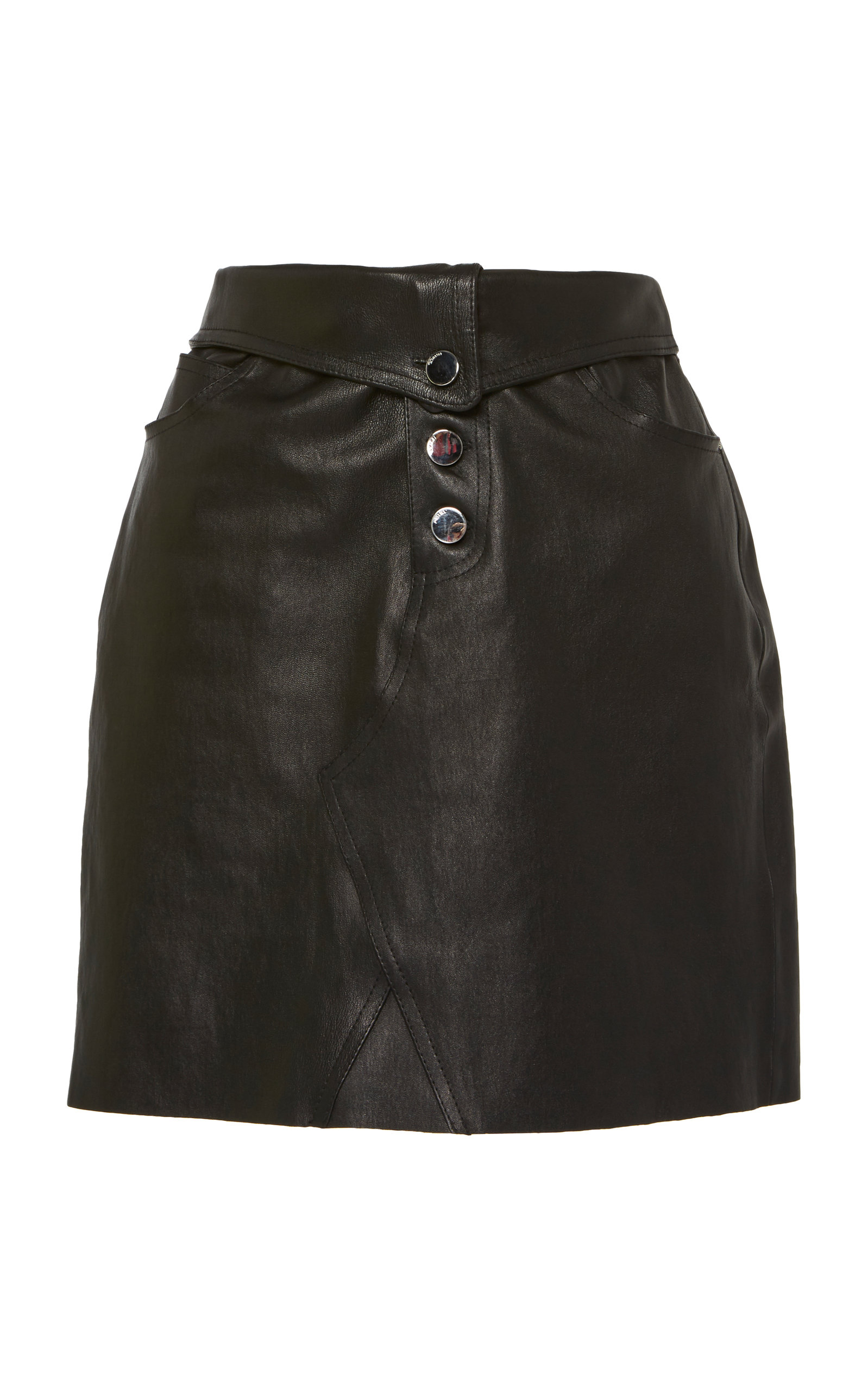 Amiri FOLD OVER LEATHER SKIRT